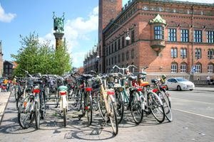 Bicycles outside the town hall in Copenhagen, Radhuset