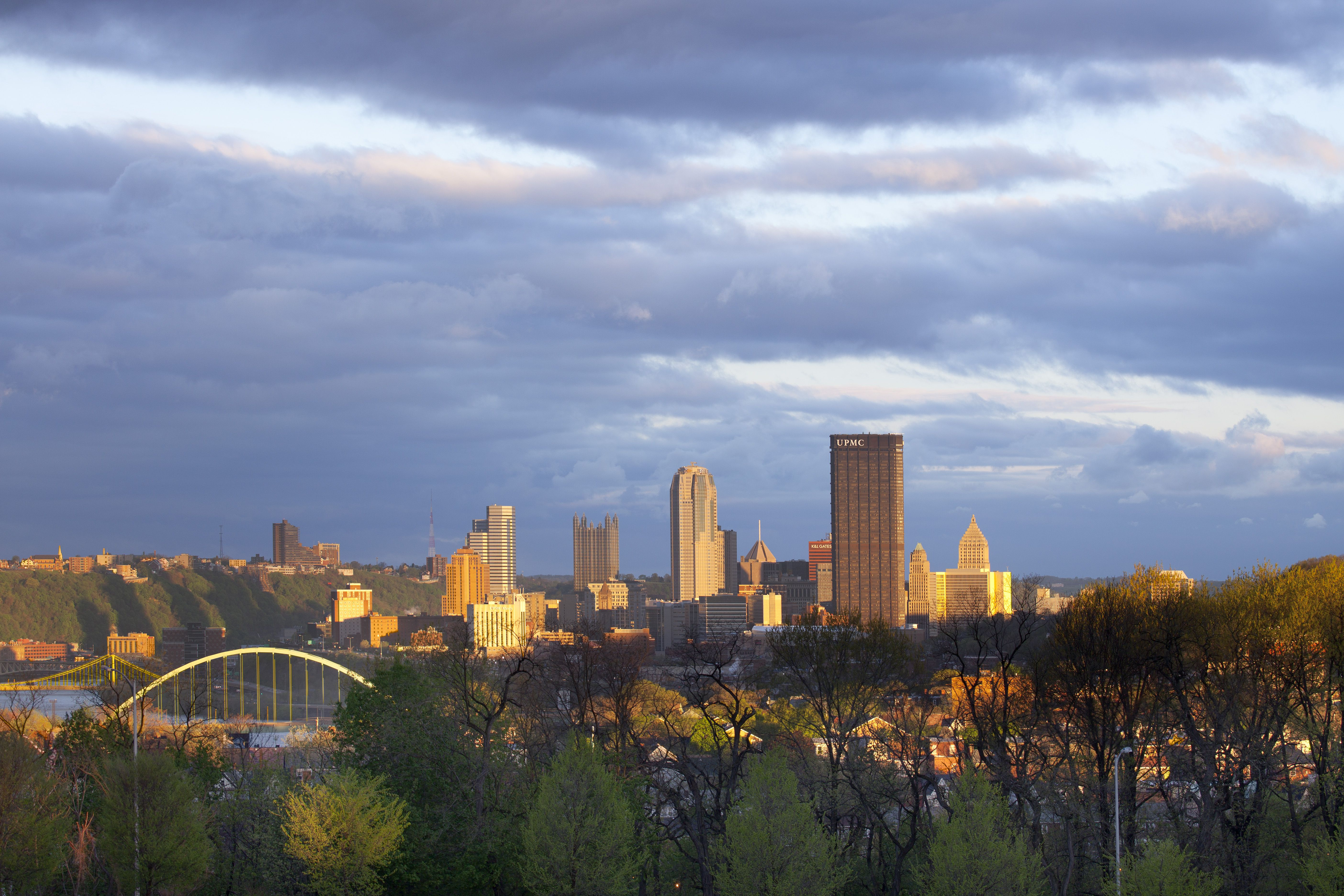 Skyline View From Oakland, Pittsburgh, Pennsylvania, USA