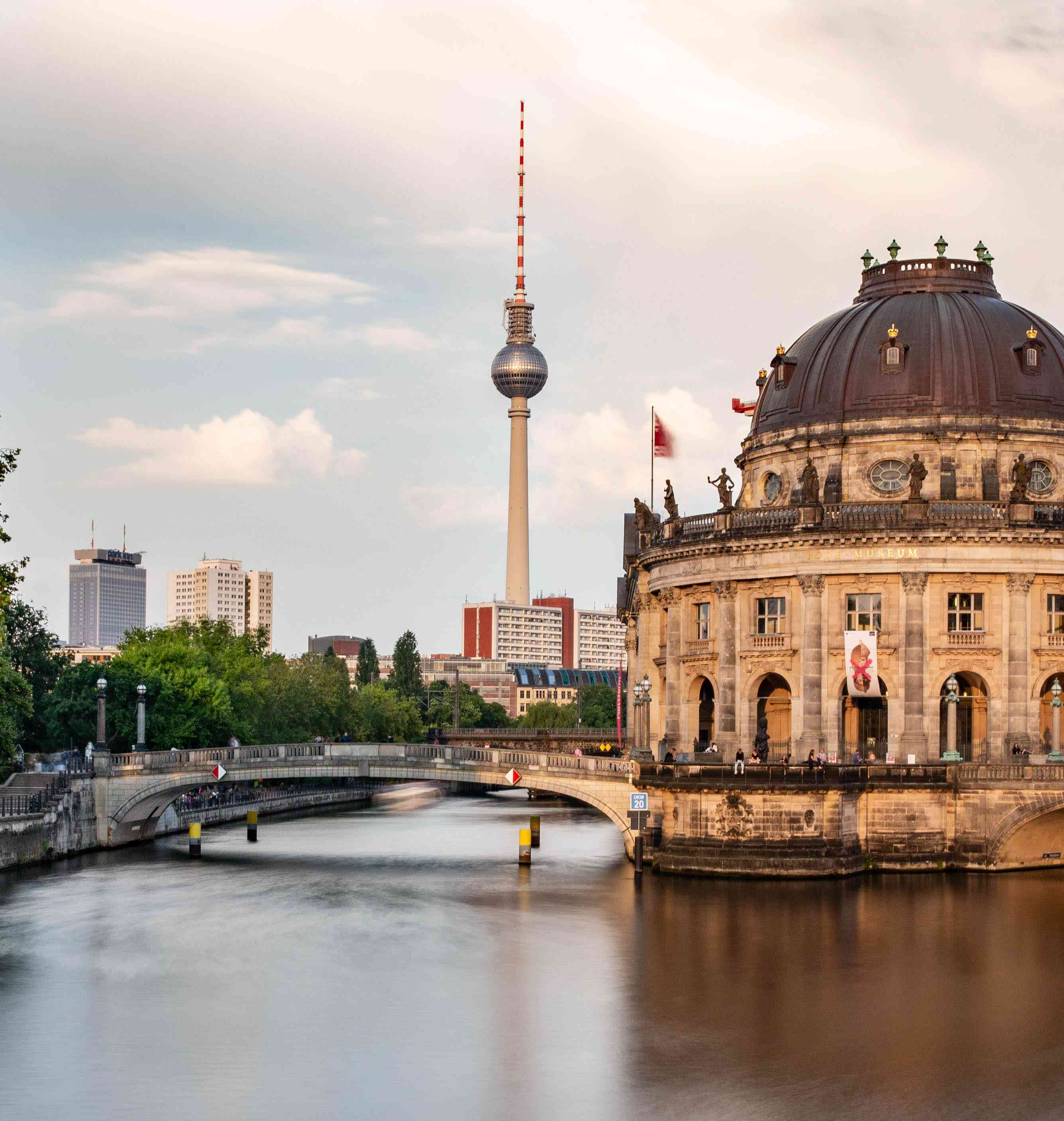 View of a bridge to museum island