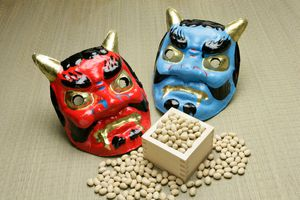 Setsubun Masks and Soybeans