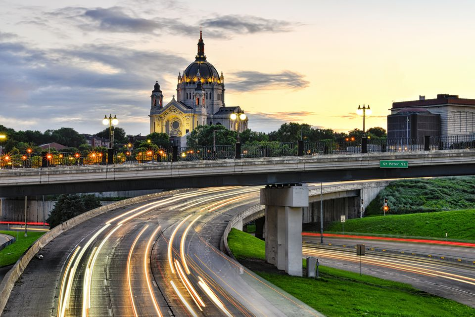 Cathedral of St. Paul in St. Paul Minnesota with Traffic Light Trials