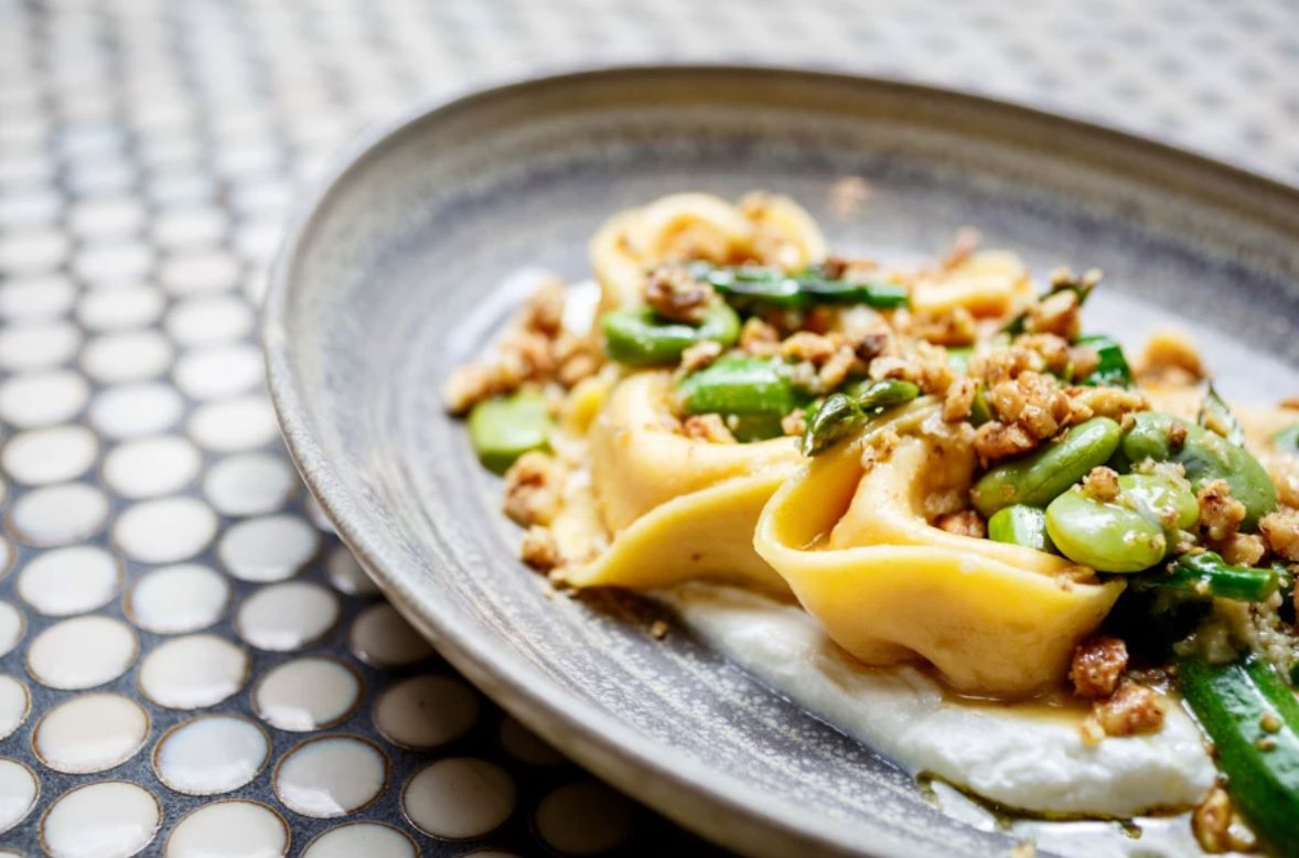 Tortellini with greens at Lalla Rookh