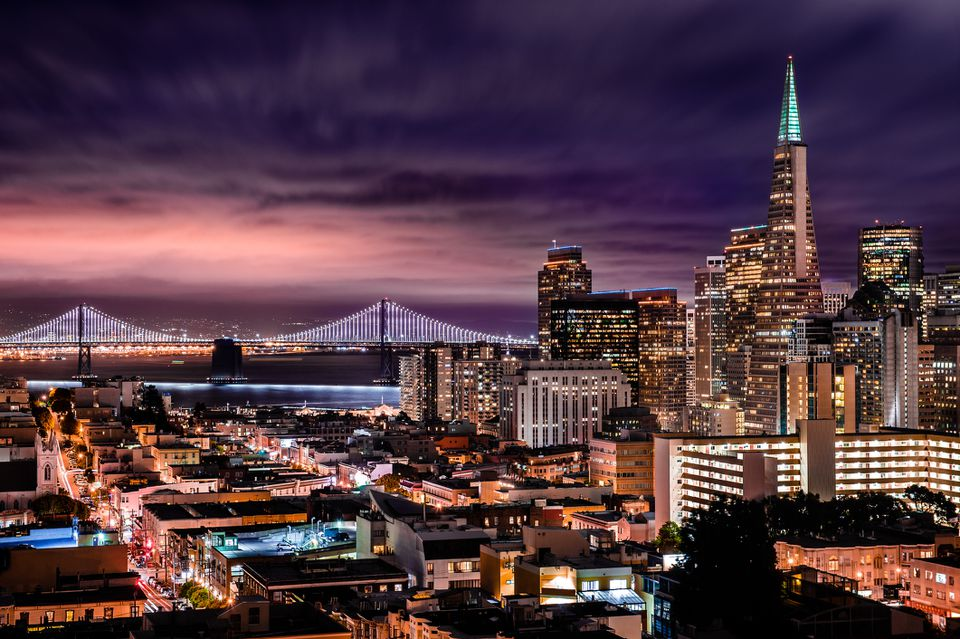 Night over San Francisco and its Bay Bridge