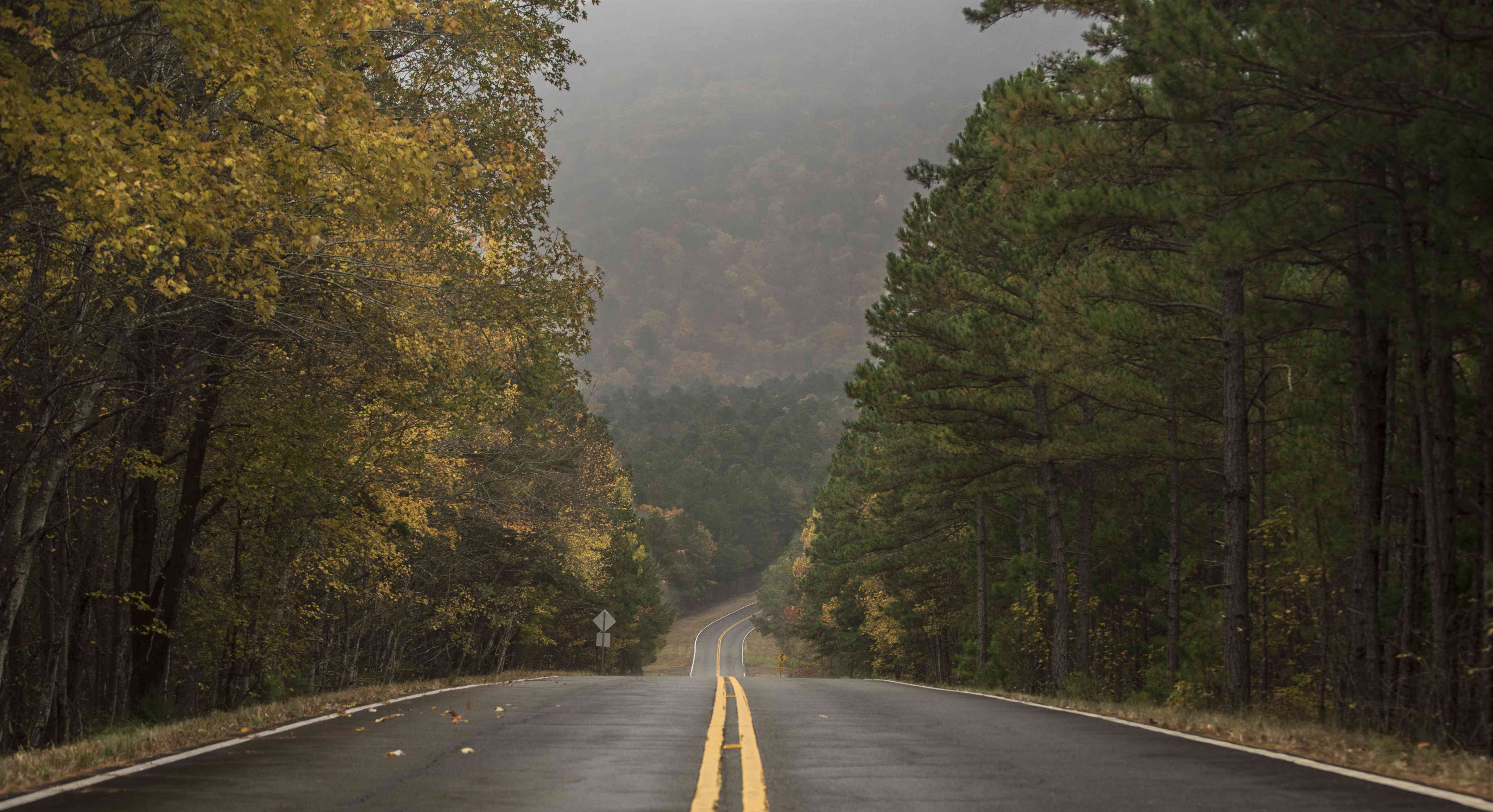 Talimena Scenic Highway with fall foliage