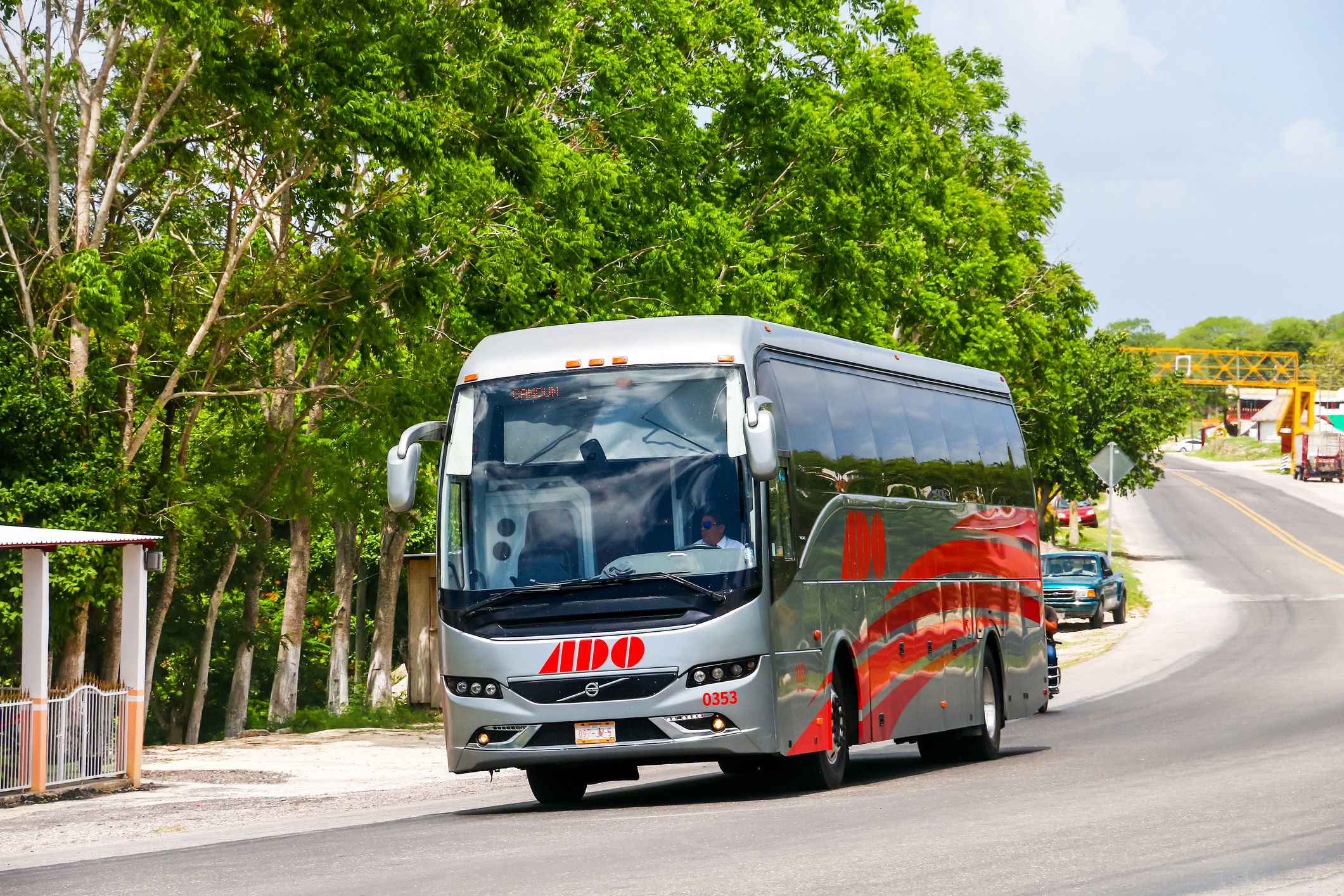 ADO bus driving in Mexico