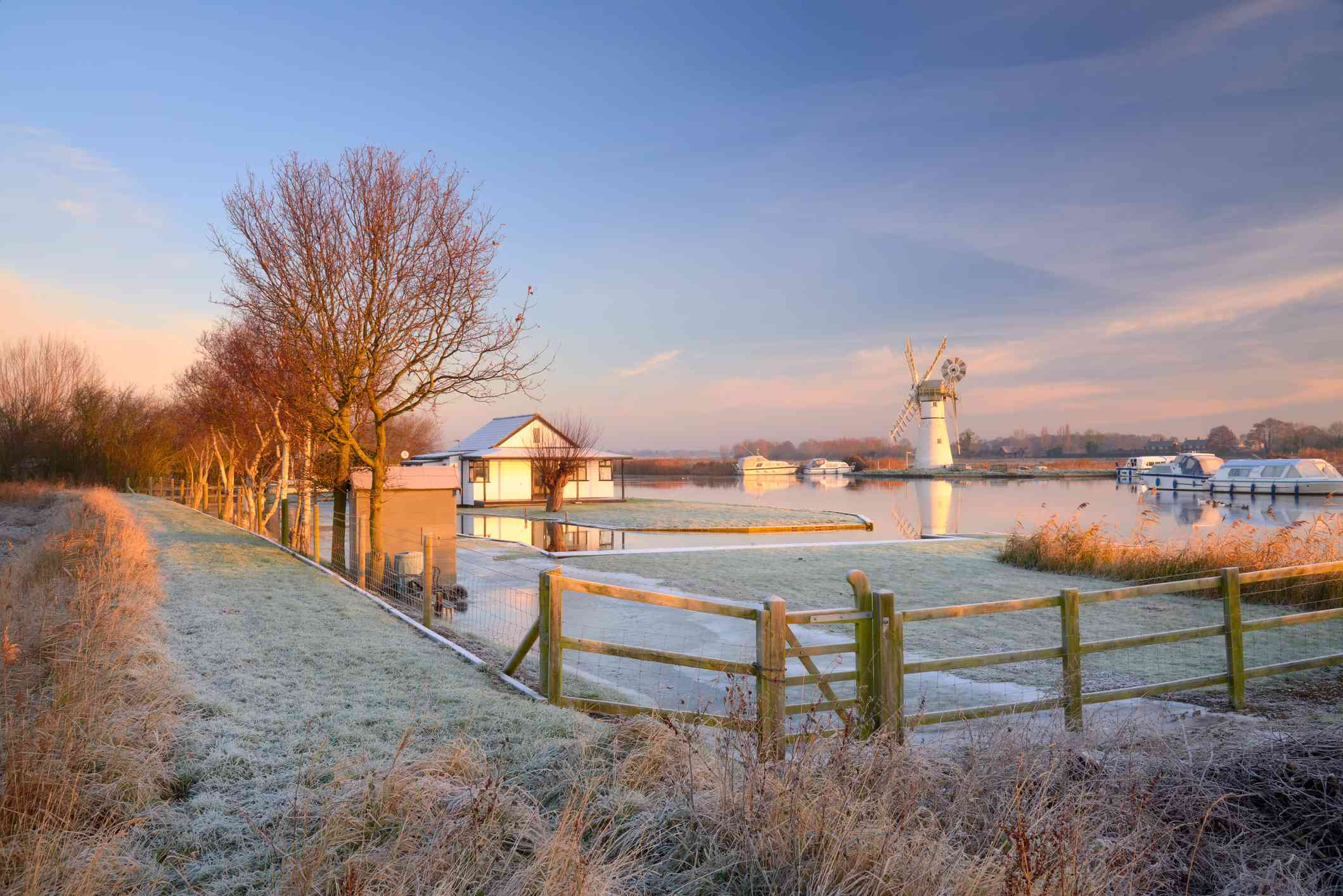 Winter Scene along the River Thurne on the Norfolk Broads National Park