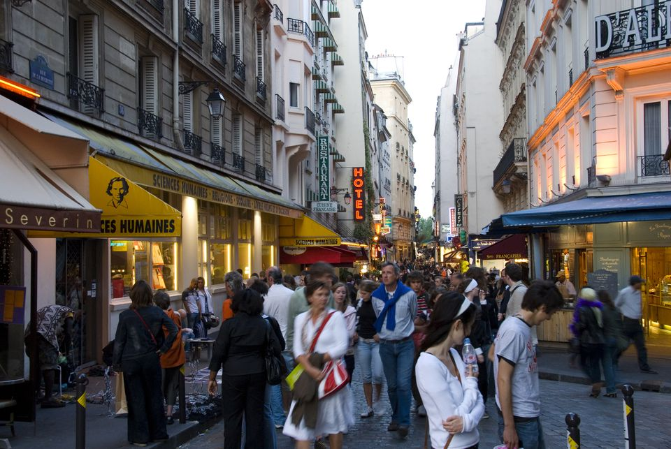 Crowds in the Latin Quarter.