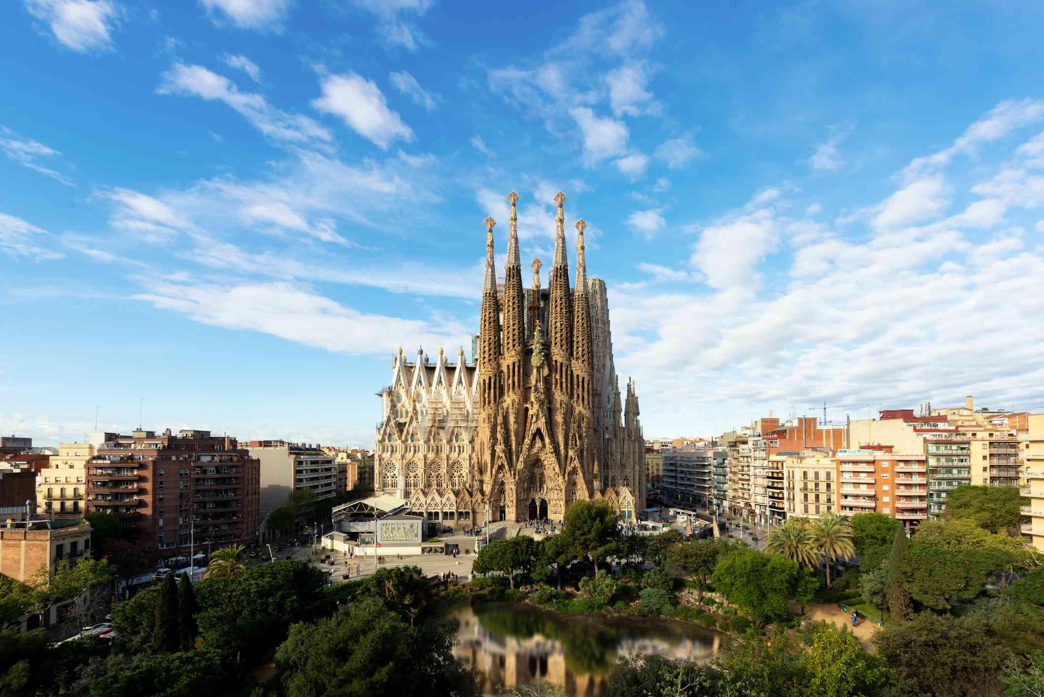 Aerial view of the Sagrada Familia