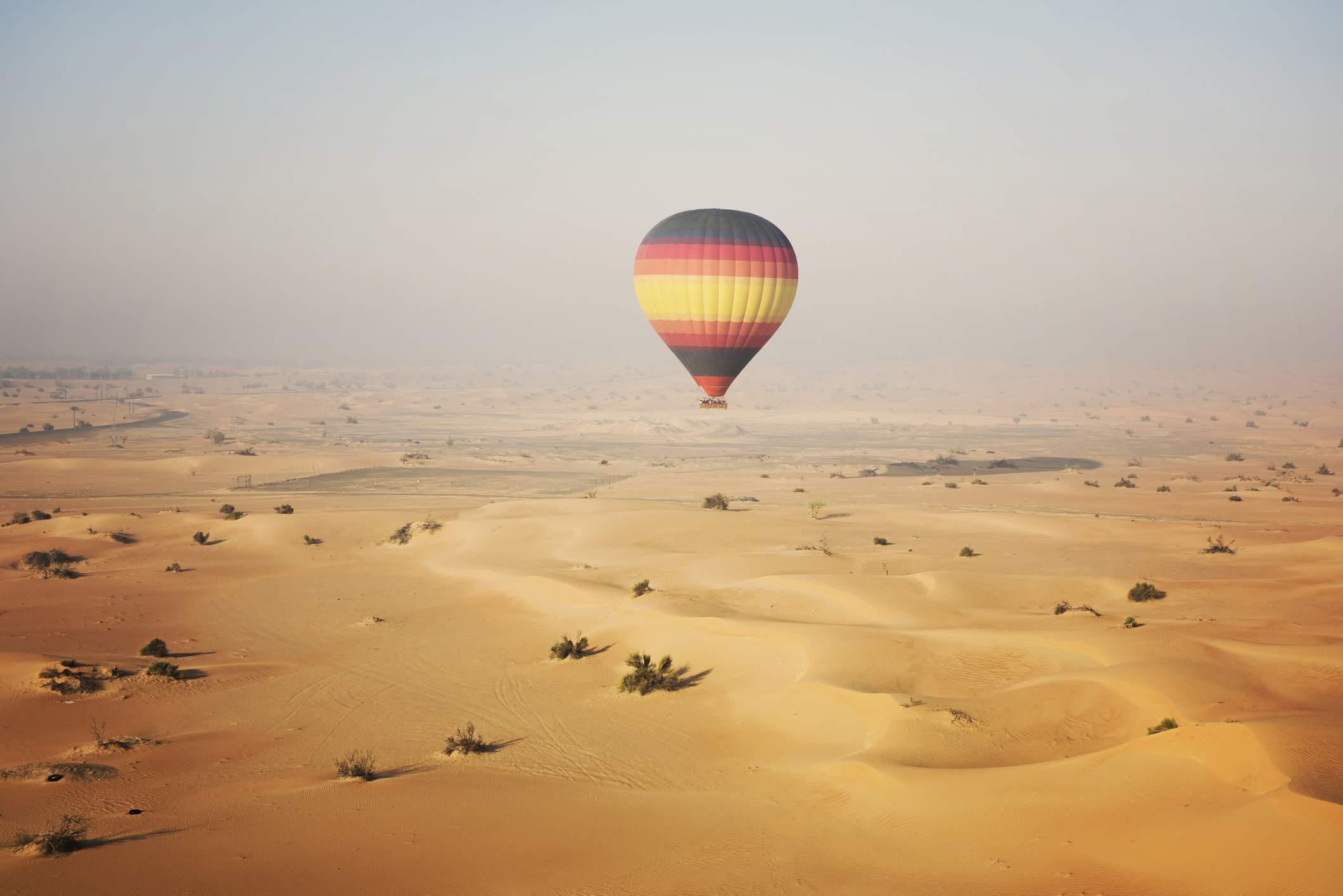 Hot air balloon over the desert, Dubai, UAE