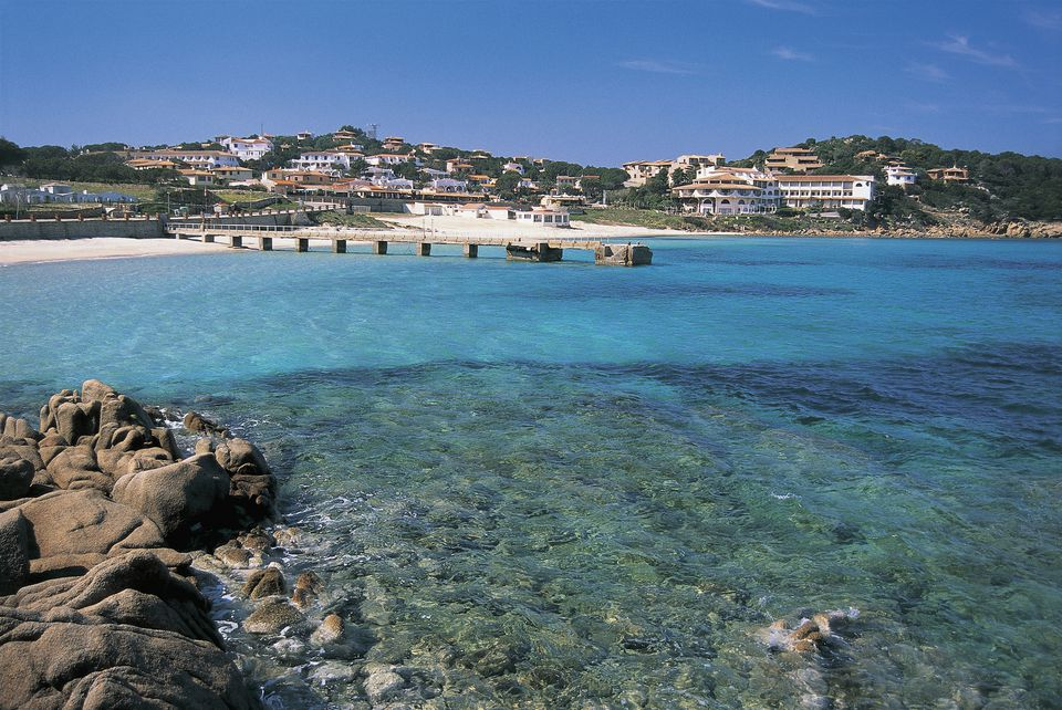 A view of Baia Sardinia's coastline, on the water