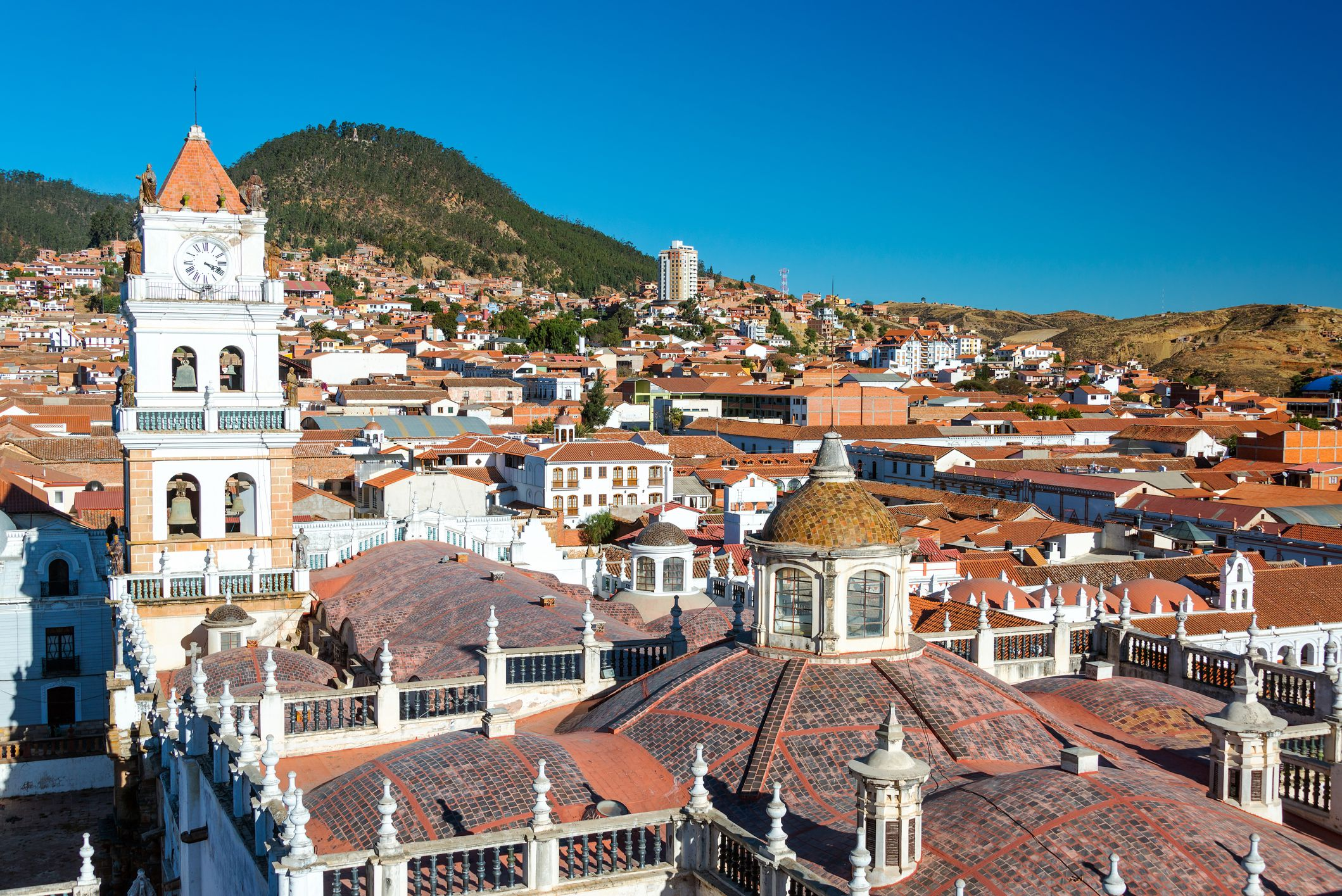 Houses Against Clear Blue Sky in Sucre, Bolivia