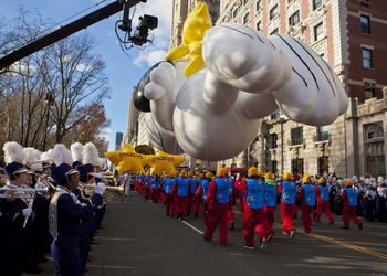 The Thanksgiving Day Parade in action.