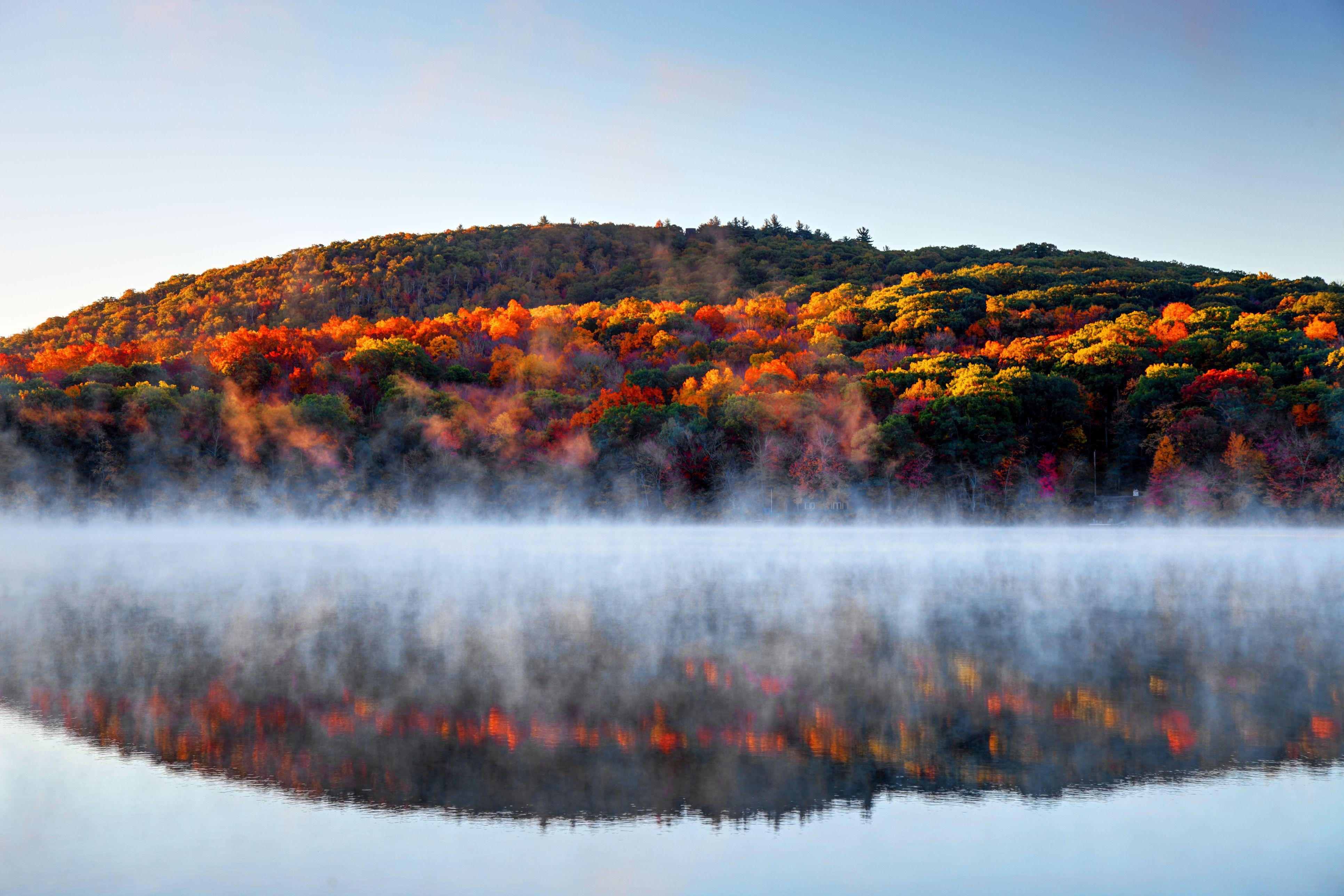 Autumn mist in the Litchfield Hills of Connecticut
