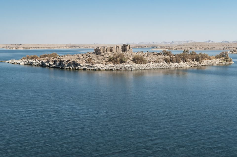 View of Qasr Ibrim citadel ruins on an island in Lake Nasser, Egypt