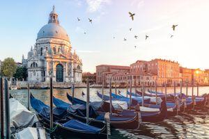 River side view of Santa Maria Della salute Church in Venice