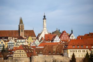 City ramparts in Rothenburg ob der Tauber, Germany