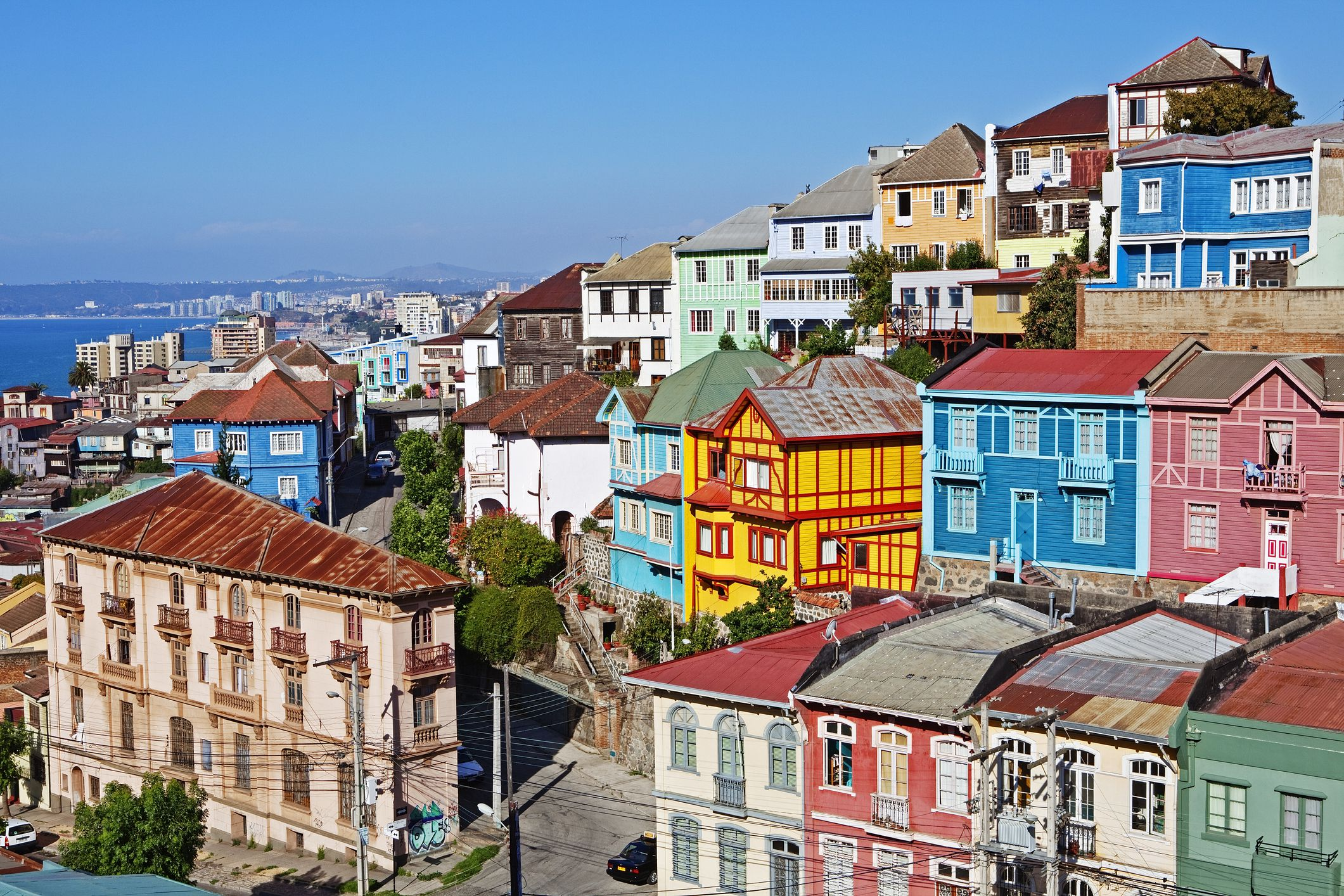 View of colorful buildings, Valparaiso Chile