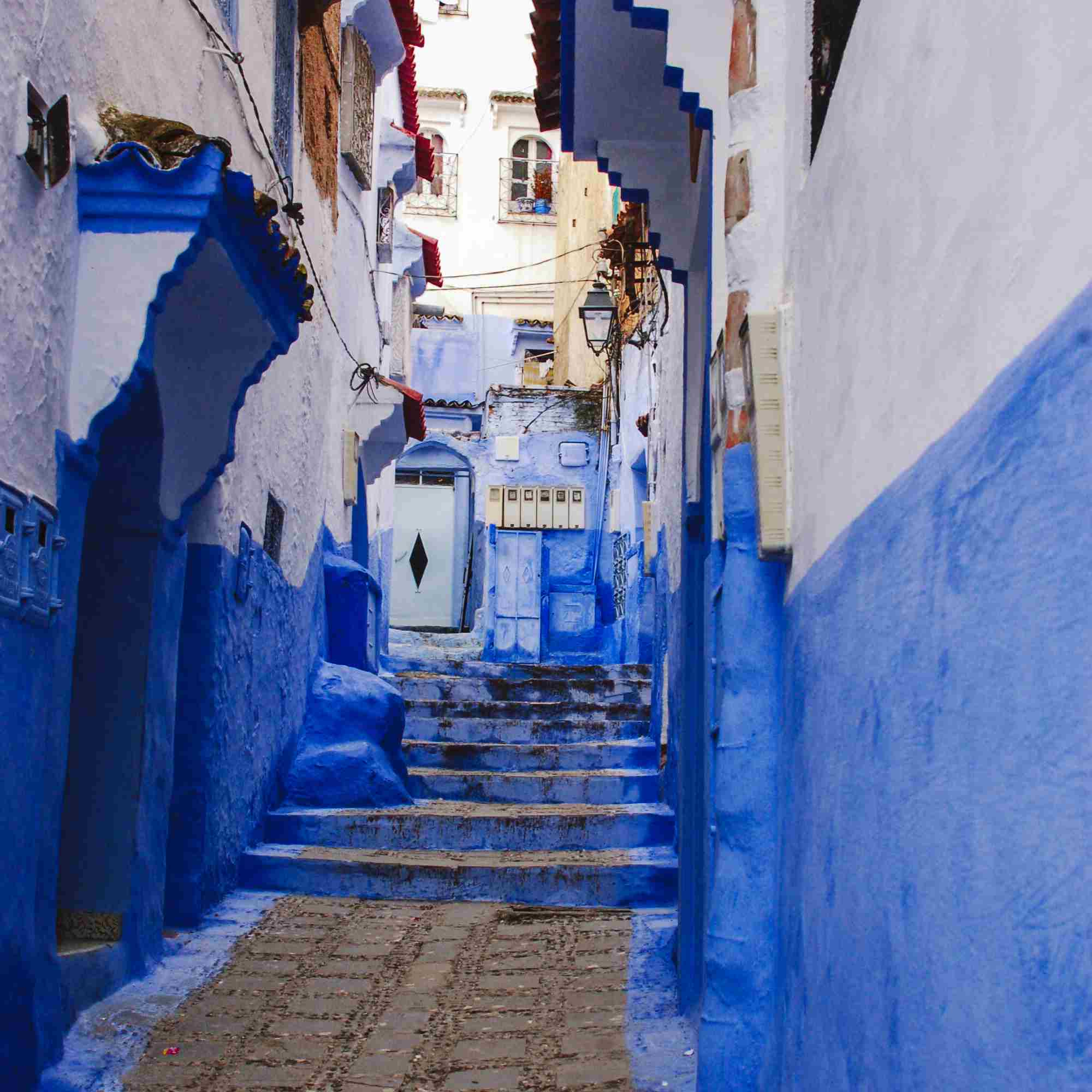 A bright blue alleyway in Chefchaeoun