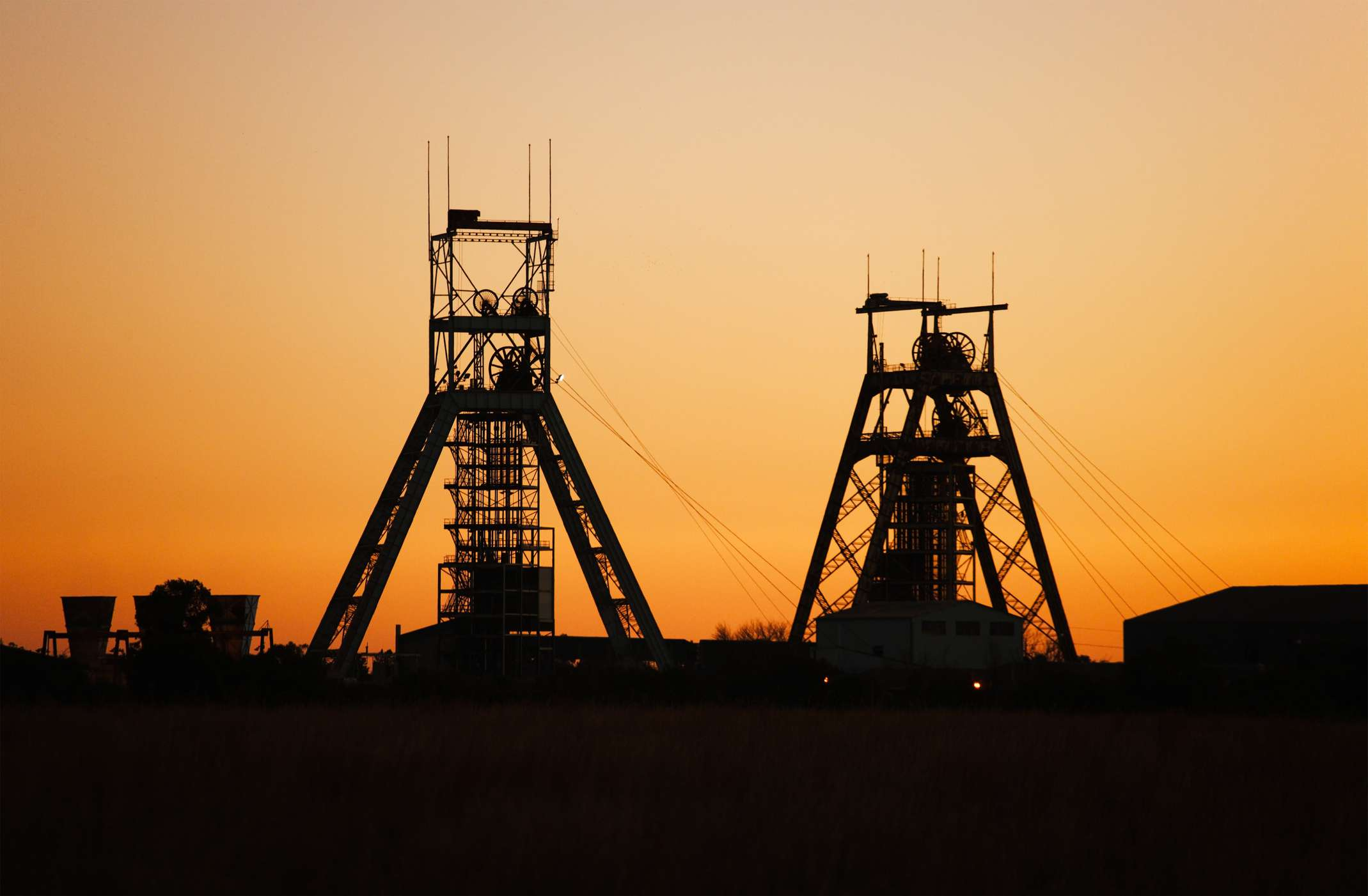 Silhouette of old gold mine at Gold Reef City, Johannesburg