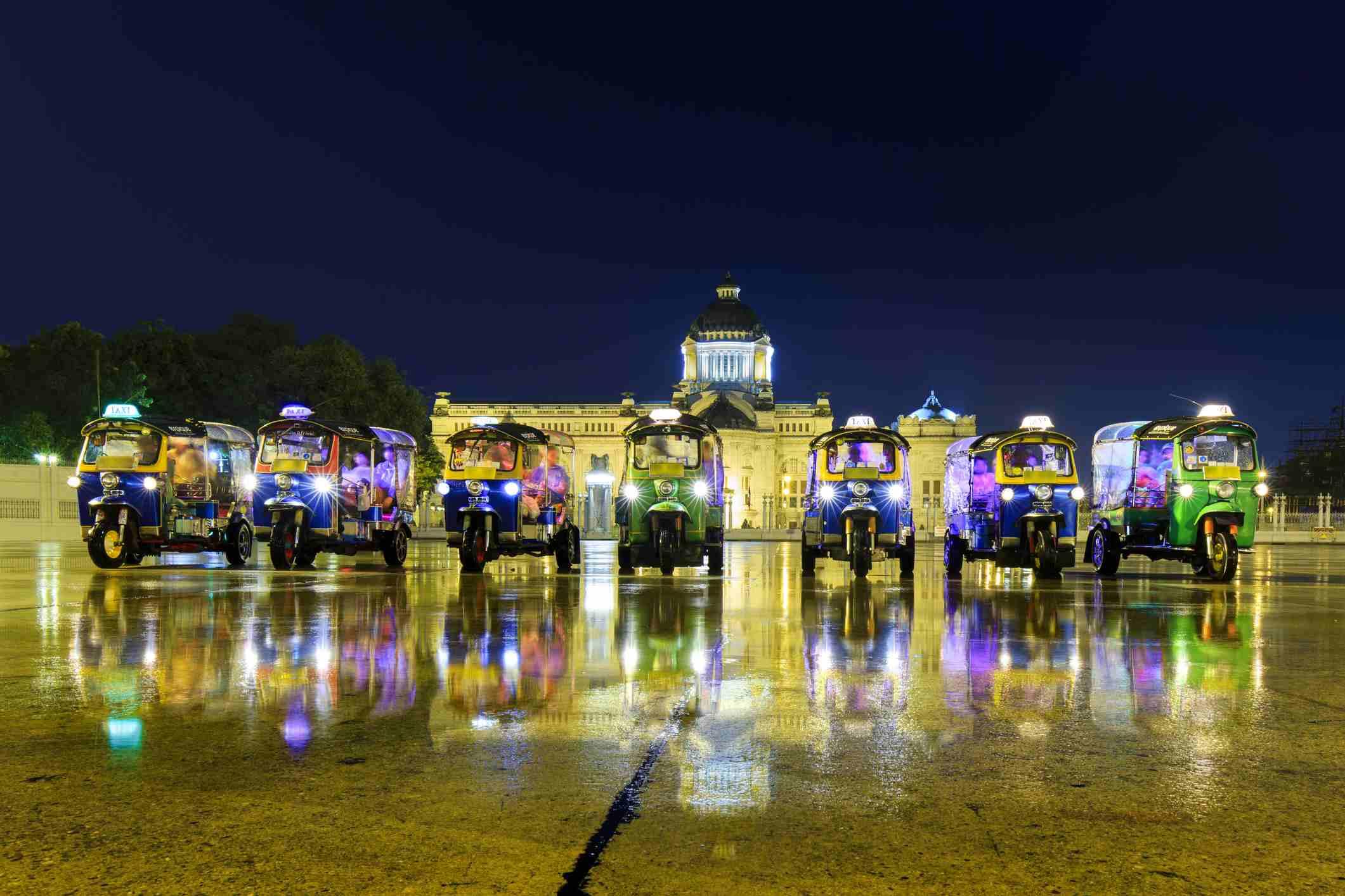 Tuk-tuks at the Bangkok Grand Palace, Thailand