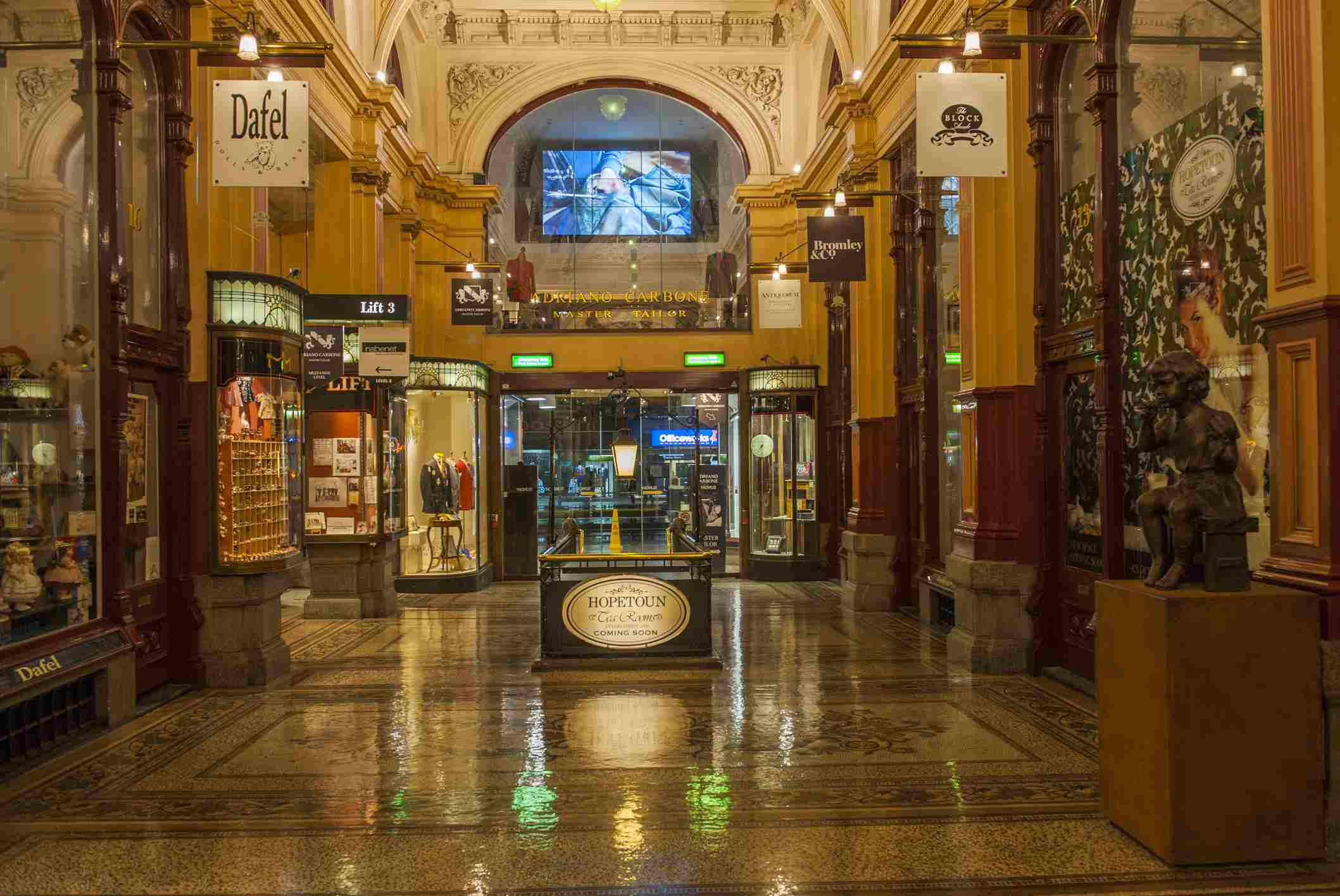 inside view of the Block Arcade in Melbourne
