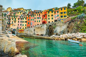 Beautiful view of Riomaggiore, cinque terre, italy, in late afternoon light.