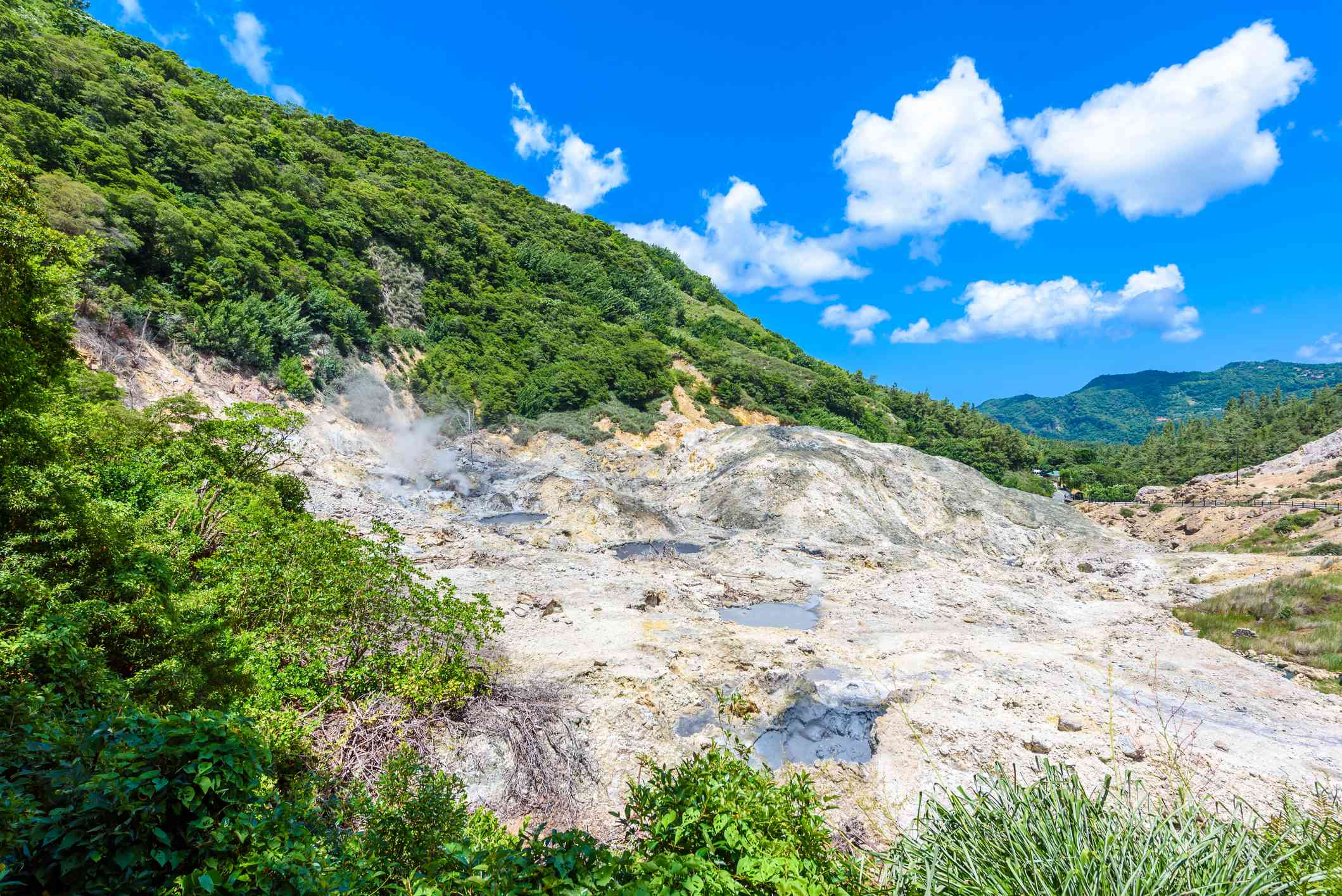 View of Drive-In Volcano Sulphur Springs on the Caribbean island of St. Lucia