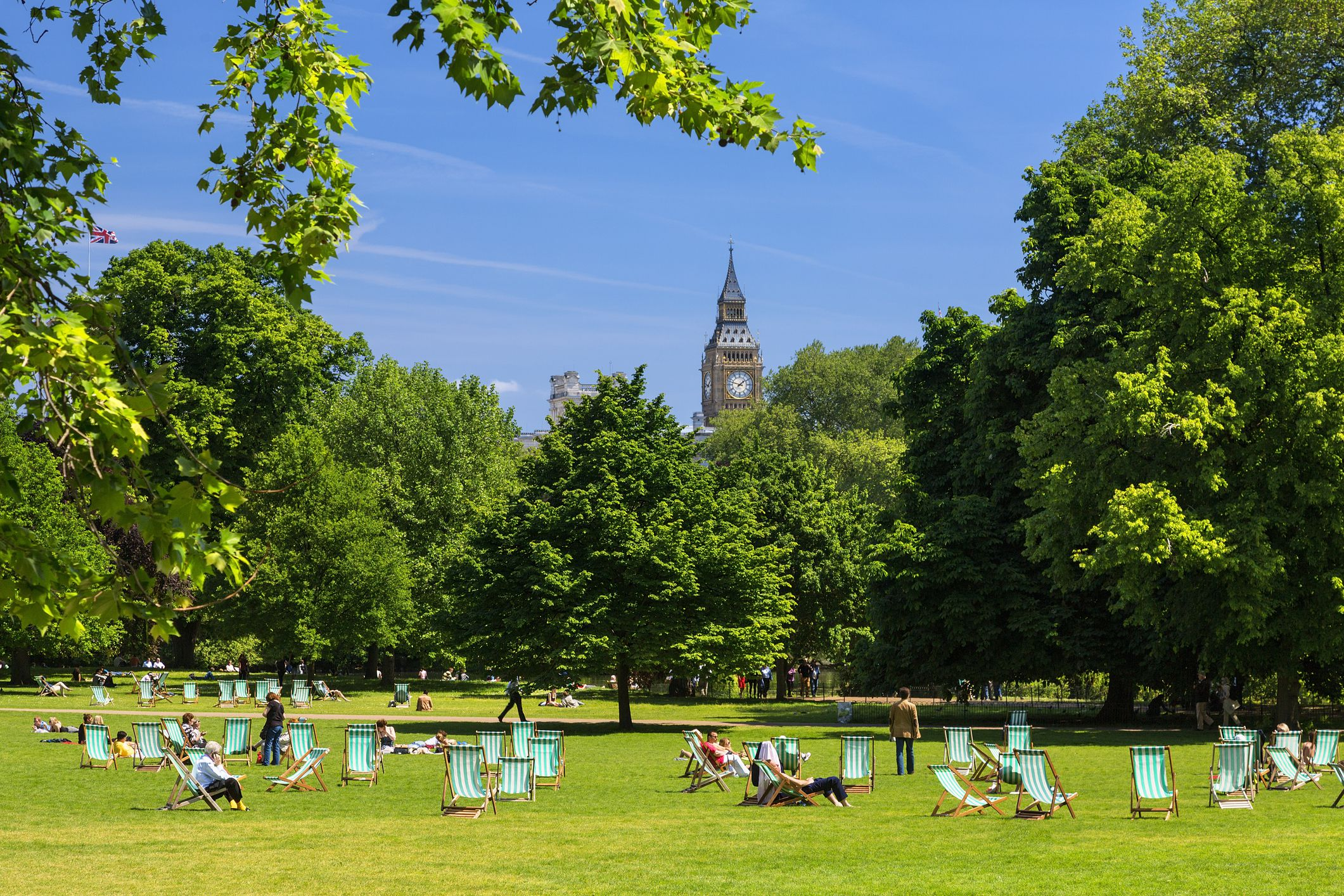 Lawn chairs on the grass in London's St. James's Park