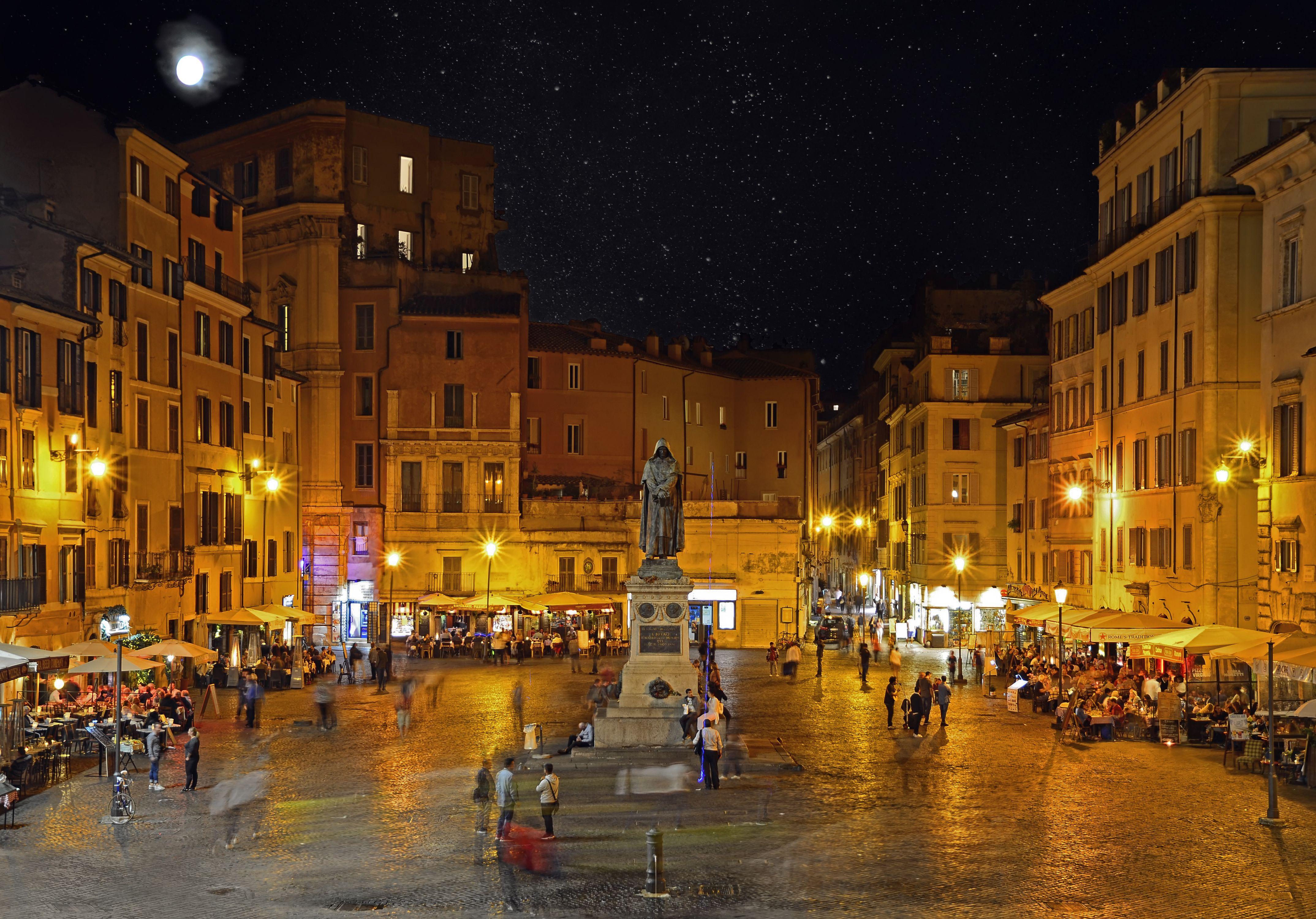 Campo dei Fiori at night with the monument to philosopher Giordano Brvno