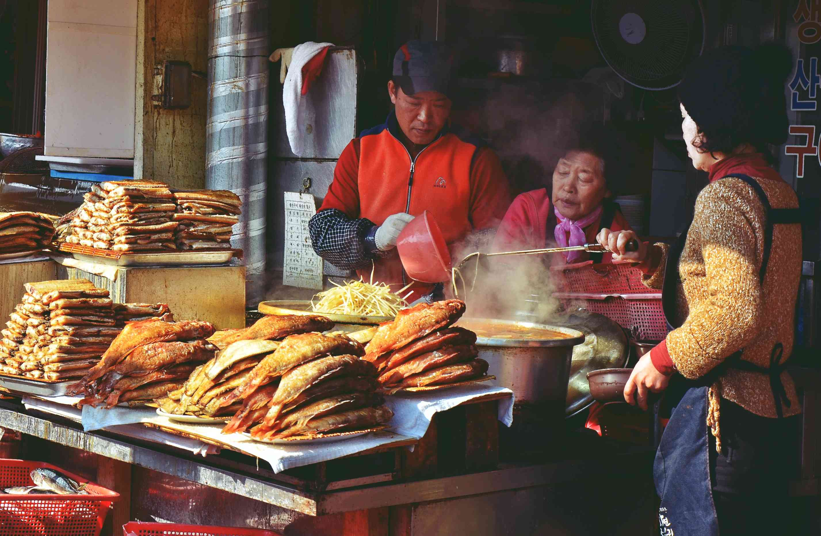 Little family restaurant at Jagalchi fish market. Busan, South Korea
