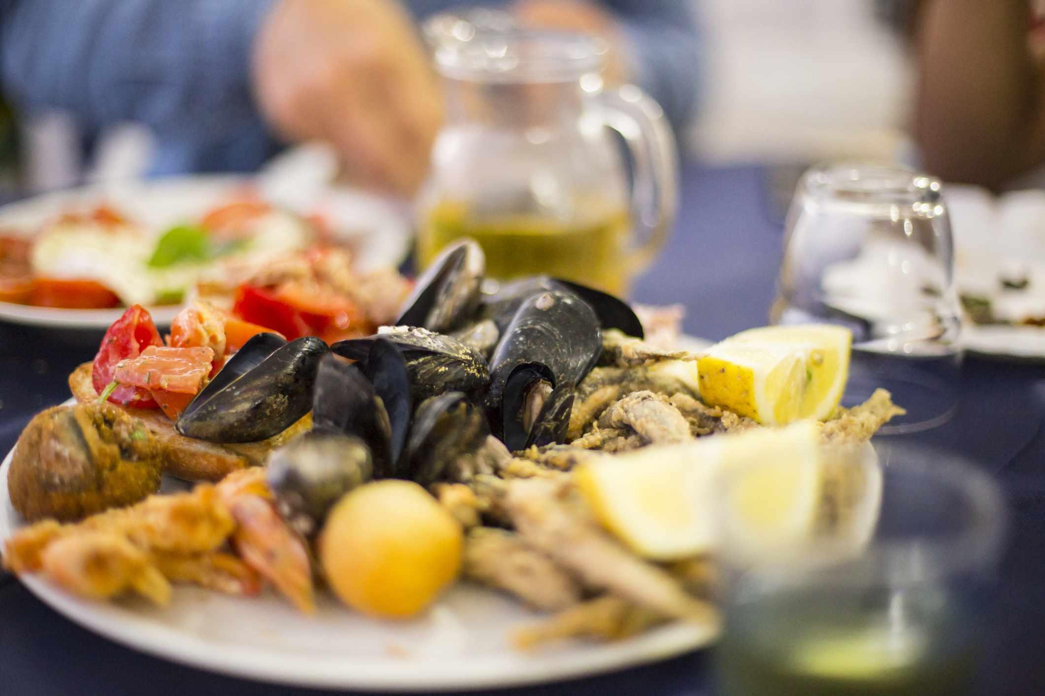 Fresh seafood platter, Procida