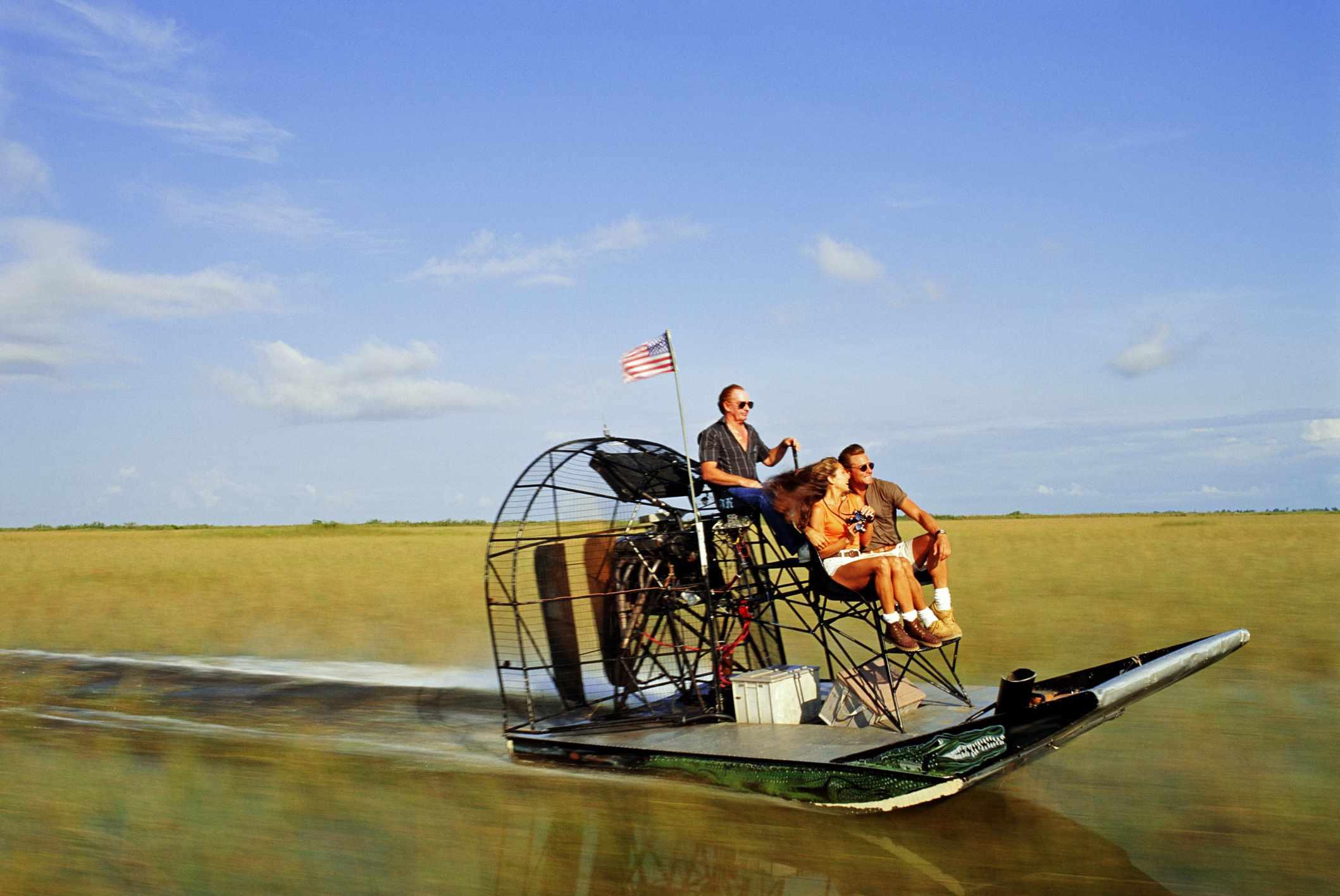 Visitors explore the unique Florida Everglades.