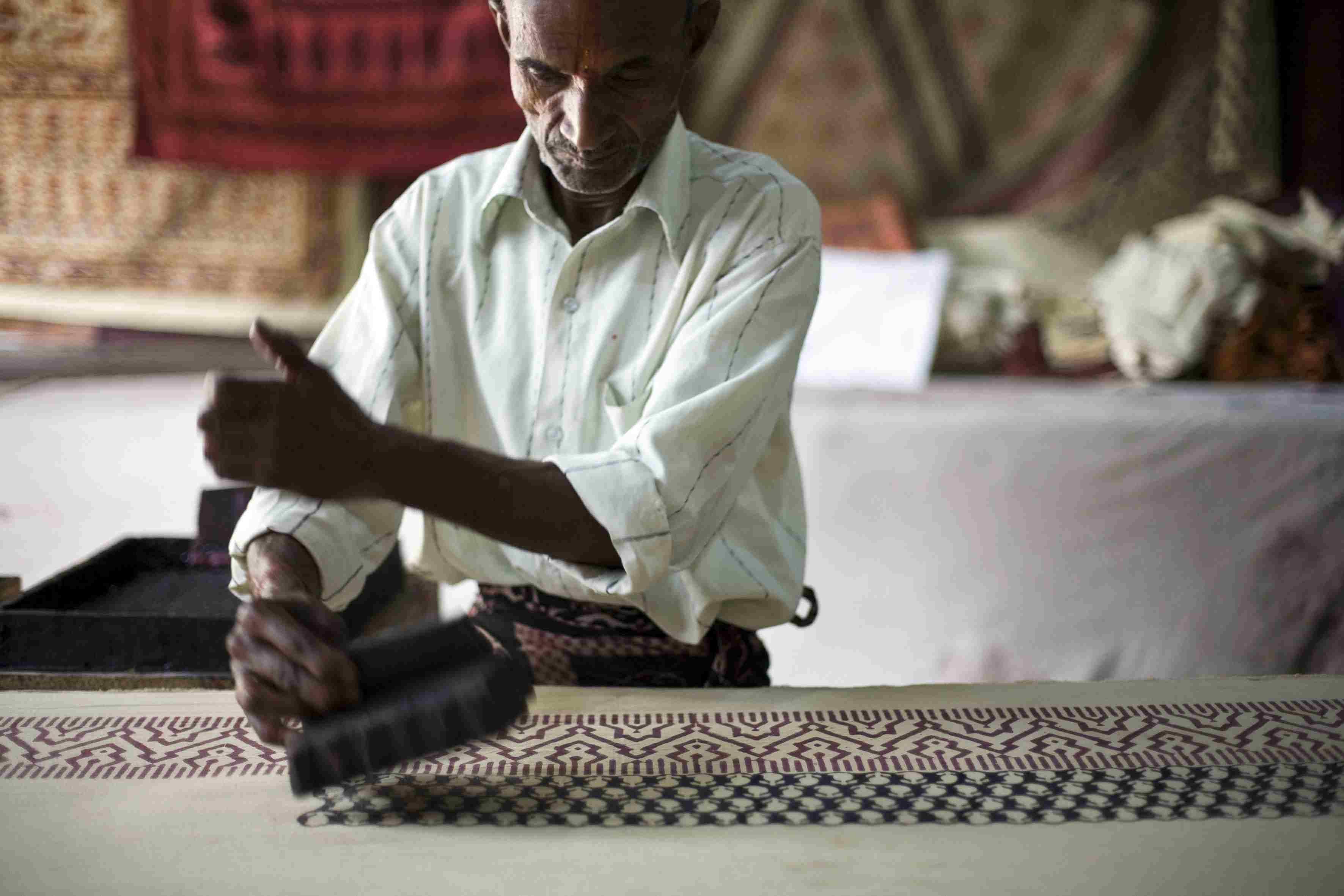 Block printing in Jaipur.