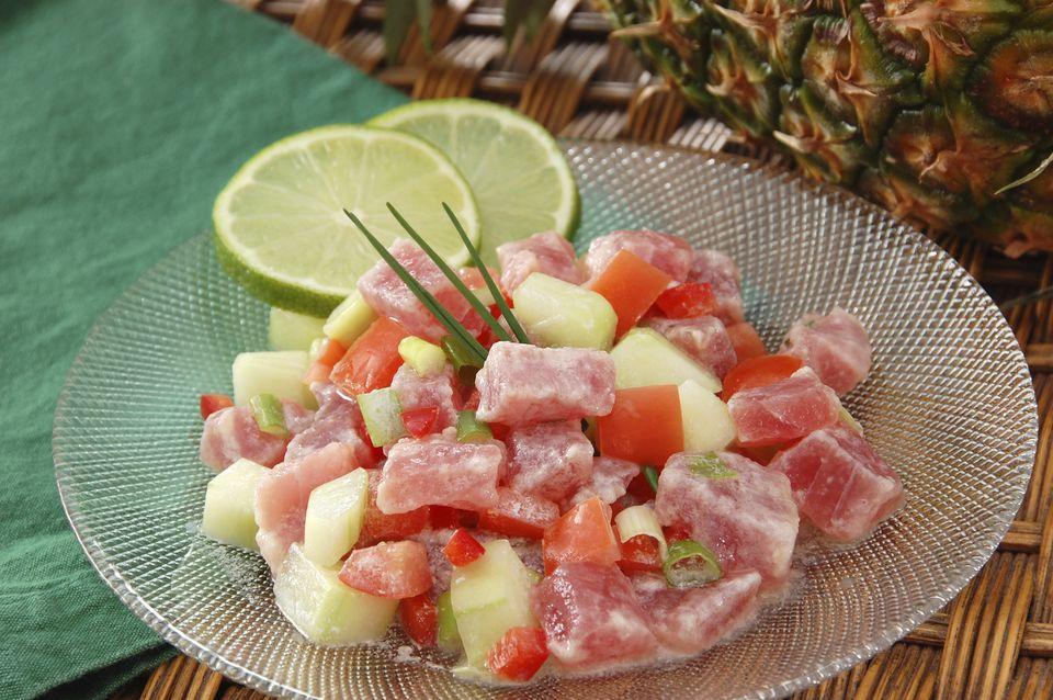 Poisson Cru dish in Tahiti