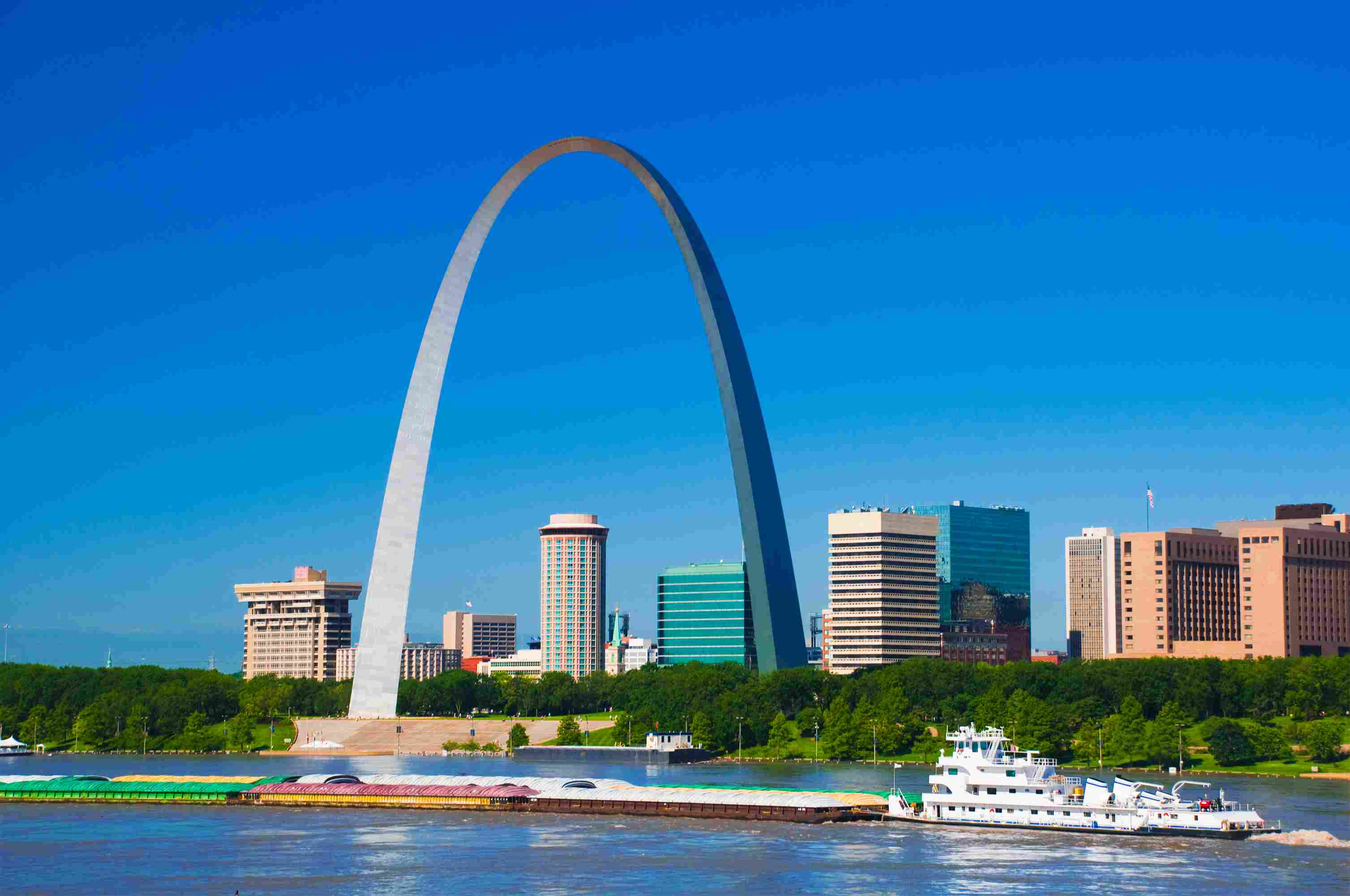 St. Louis skyline, arch, river, and boat