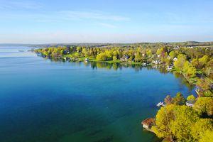 Aerial of Skaneateles Lake in Springtime