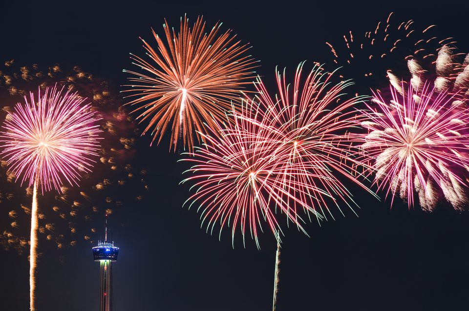 Series of fireworks in San Antonio for a national holiday