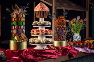 Colorful desserts presented at a top buffet in Hong Kong
