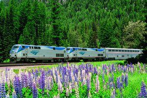 Amtrak train in spring