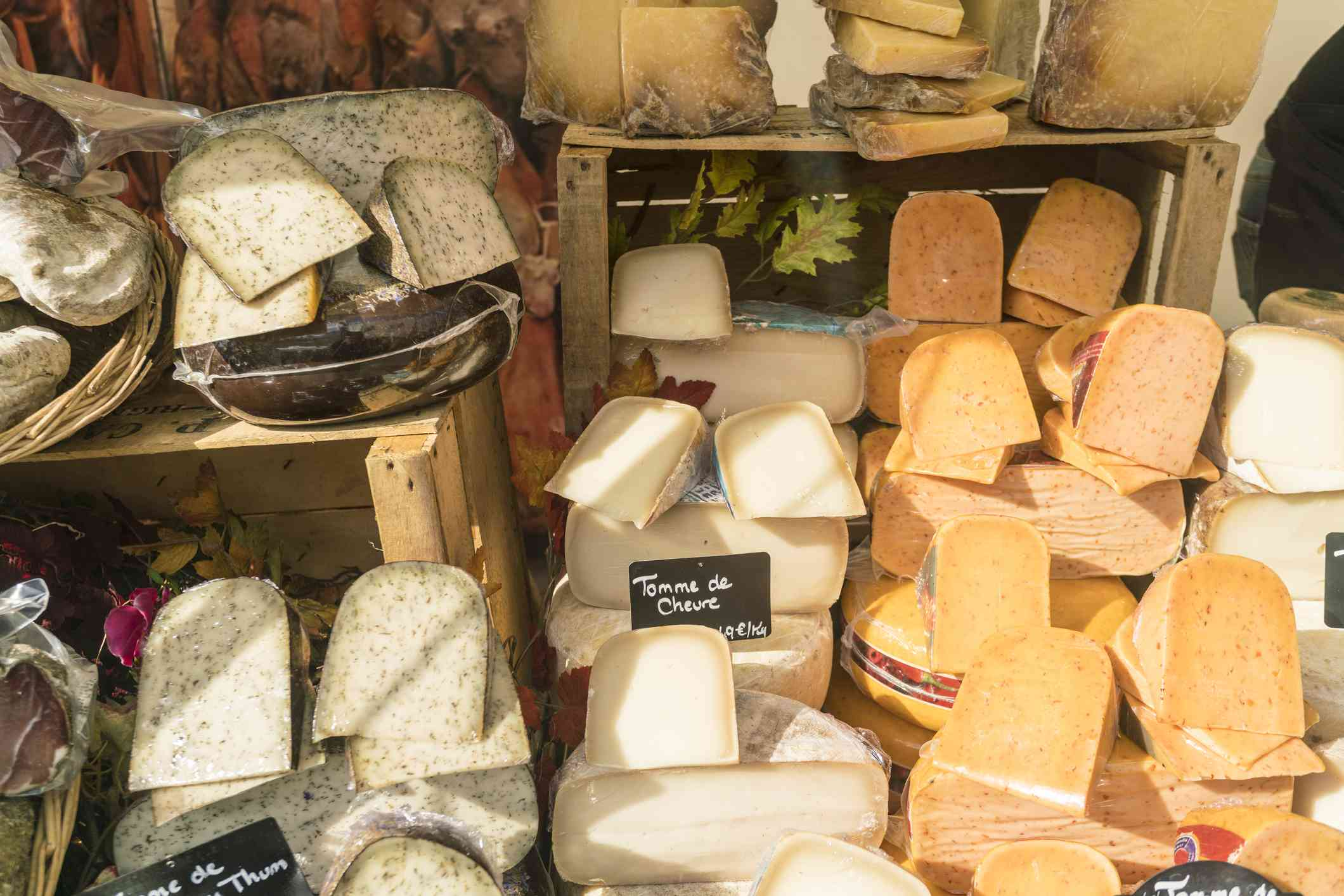 French cheeses on table set out at market