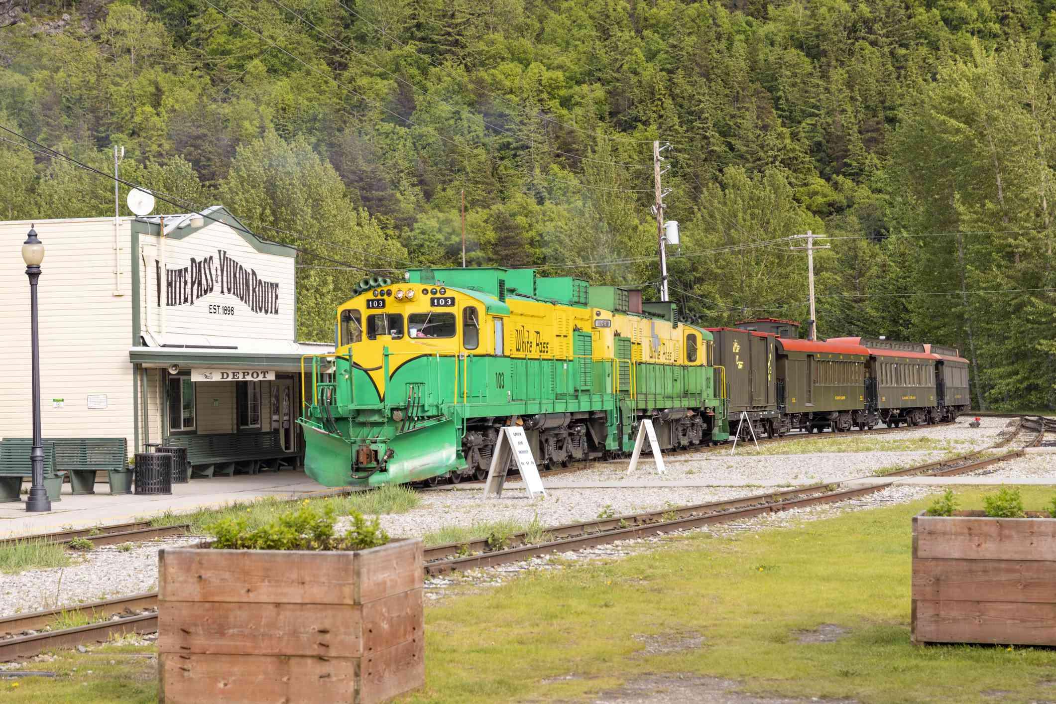 Yukon Pass Train en la estación