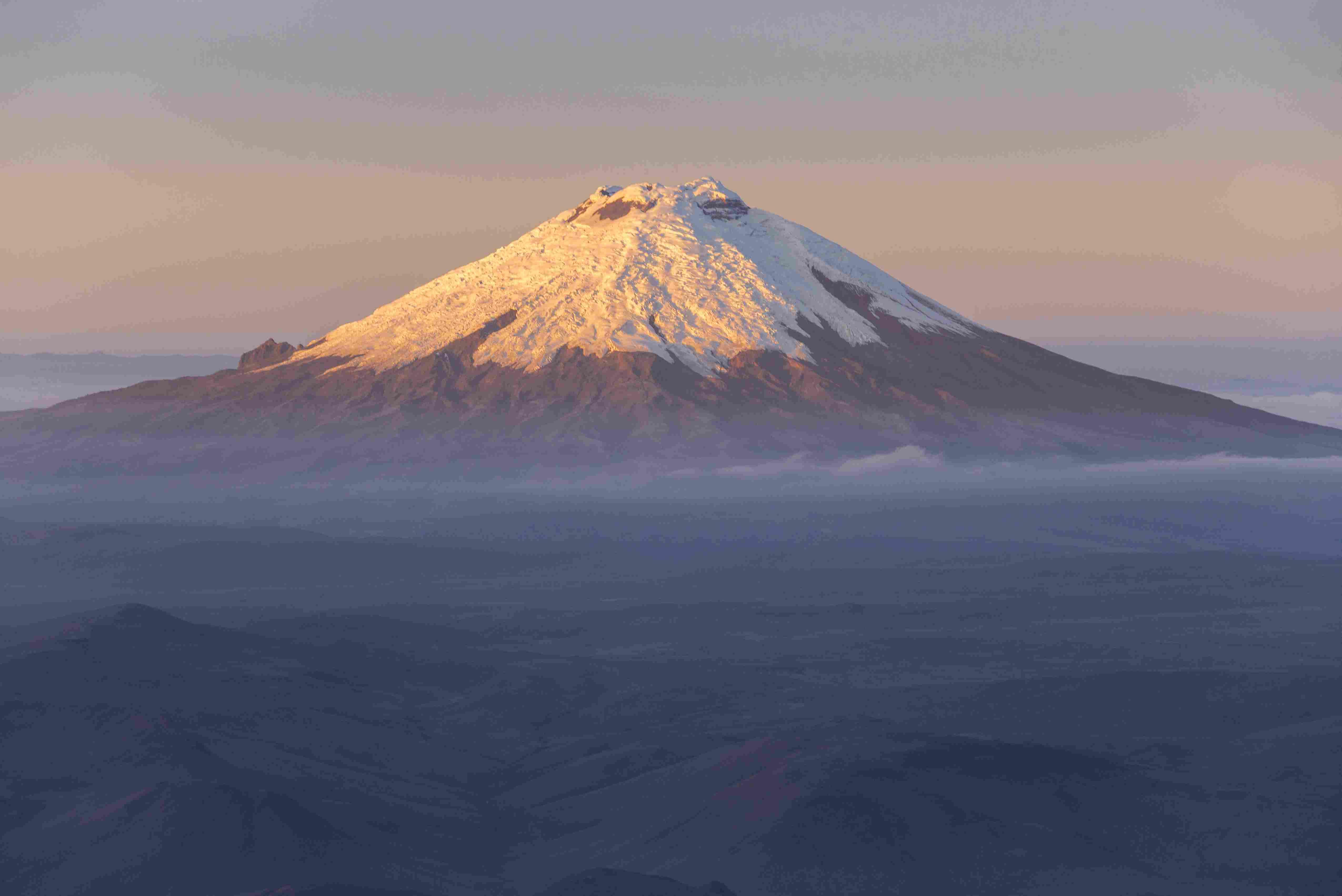 Cotopaxi, Ecuadors third-highest peak, at sunrise