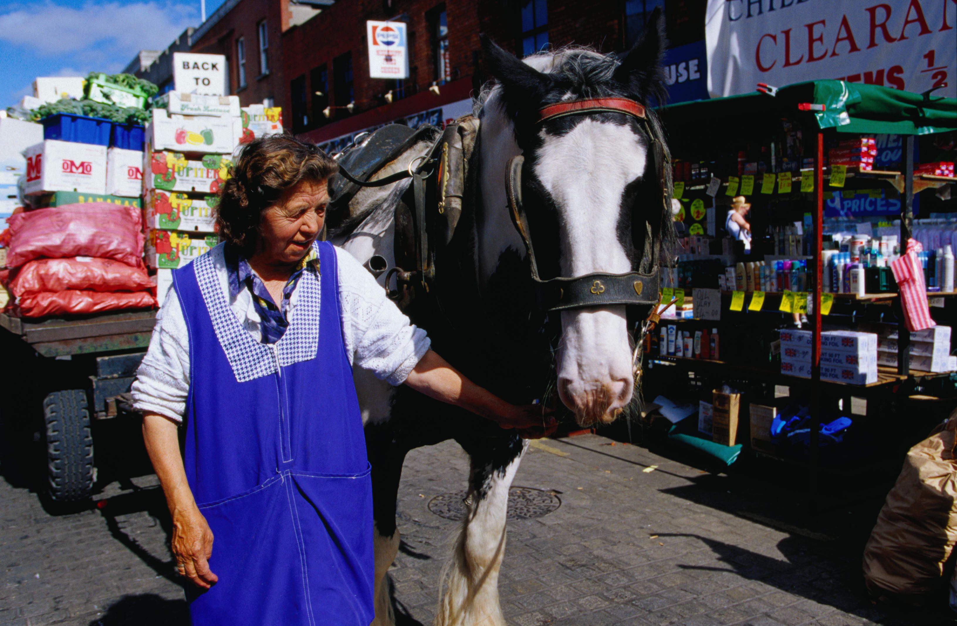 Traditional way of getting around at the Moore Street market - County Dublin, Dublin