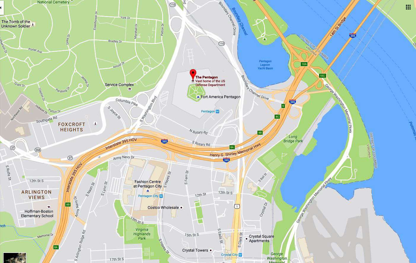 Map Of Pentagon Maps and Directions to The Pentagon & Pentagon City Mall
