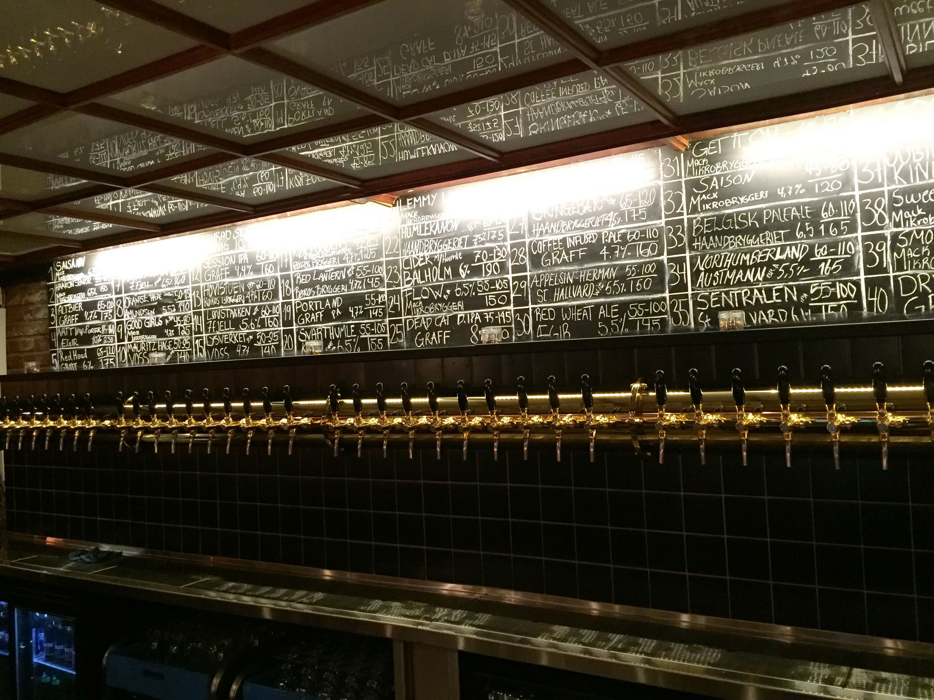 Line of dozens of taps with chalkboard menu above it