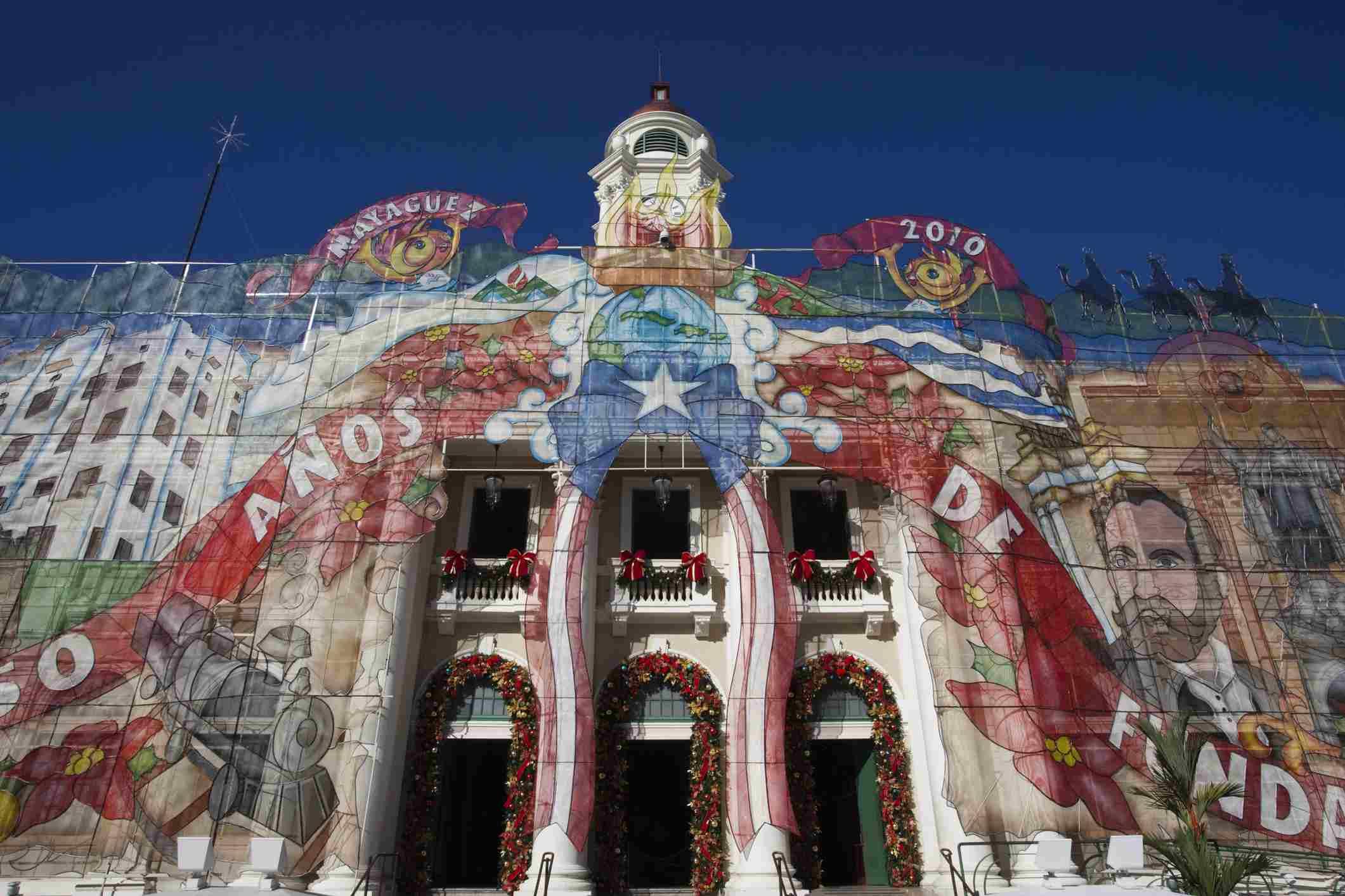Teatro Yaguez with Christmas decorations, Plaza Colon, Mayaguez, Puerto Rico