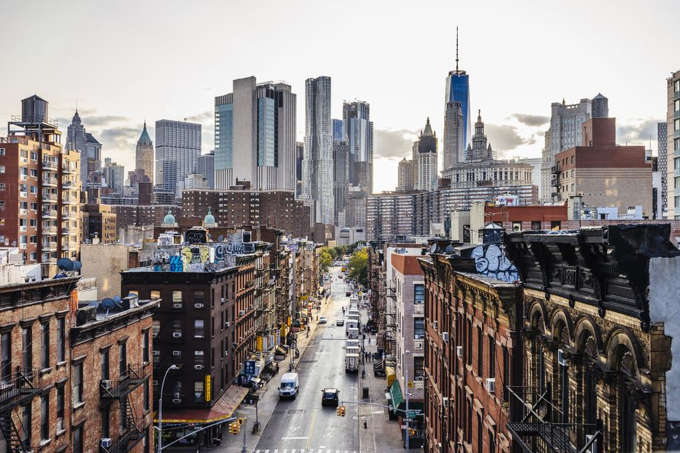 partial aerial view of NYC skyline from Chinatown