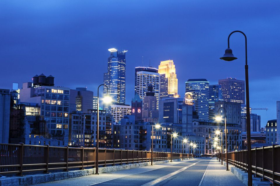 A night view of Minneapolis, Minnesota.