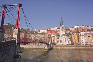 Banks of the Saone river with footbridge, Lyon, France