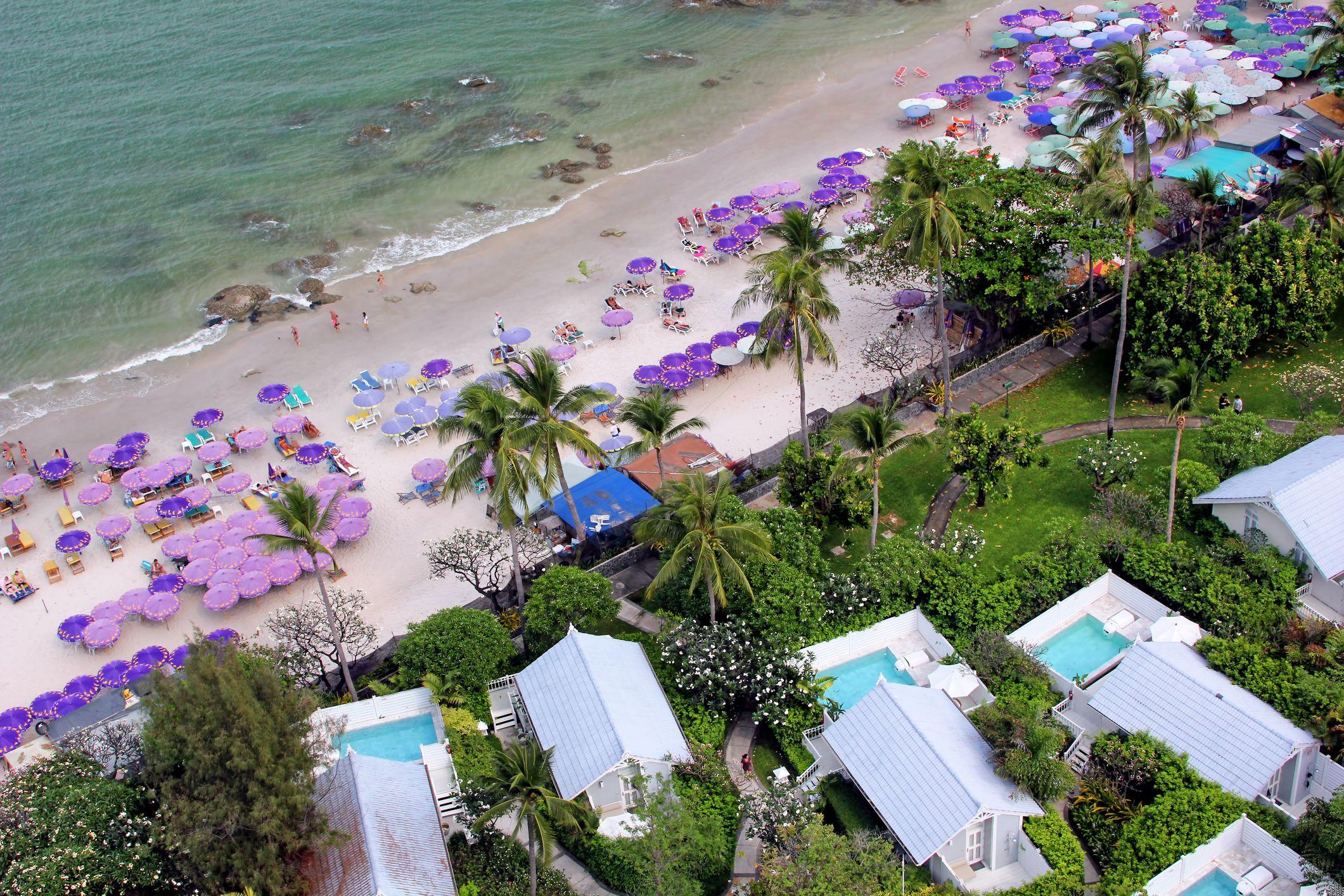 Ariel view of purple umbrellas on Hua Hin Beach, Thailand